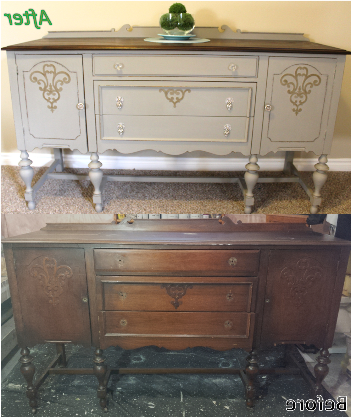 Antique Solid Cherry Refinished Sideboard / Buffet (View 4 of 20)