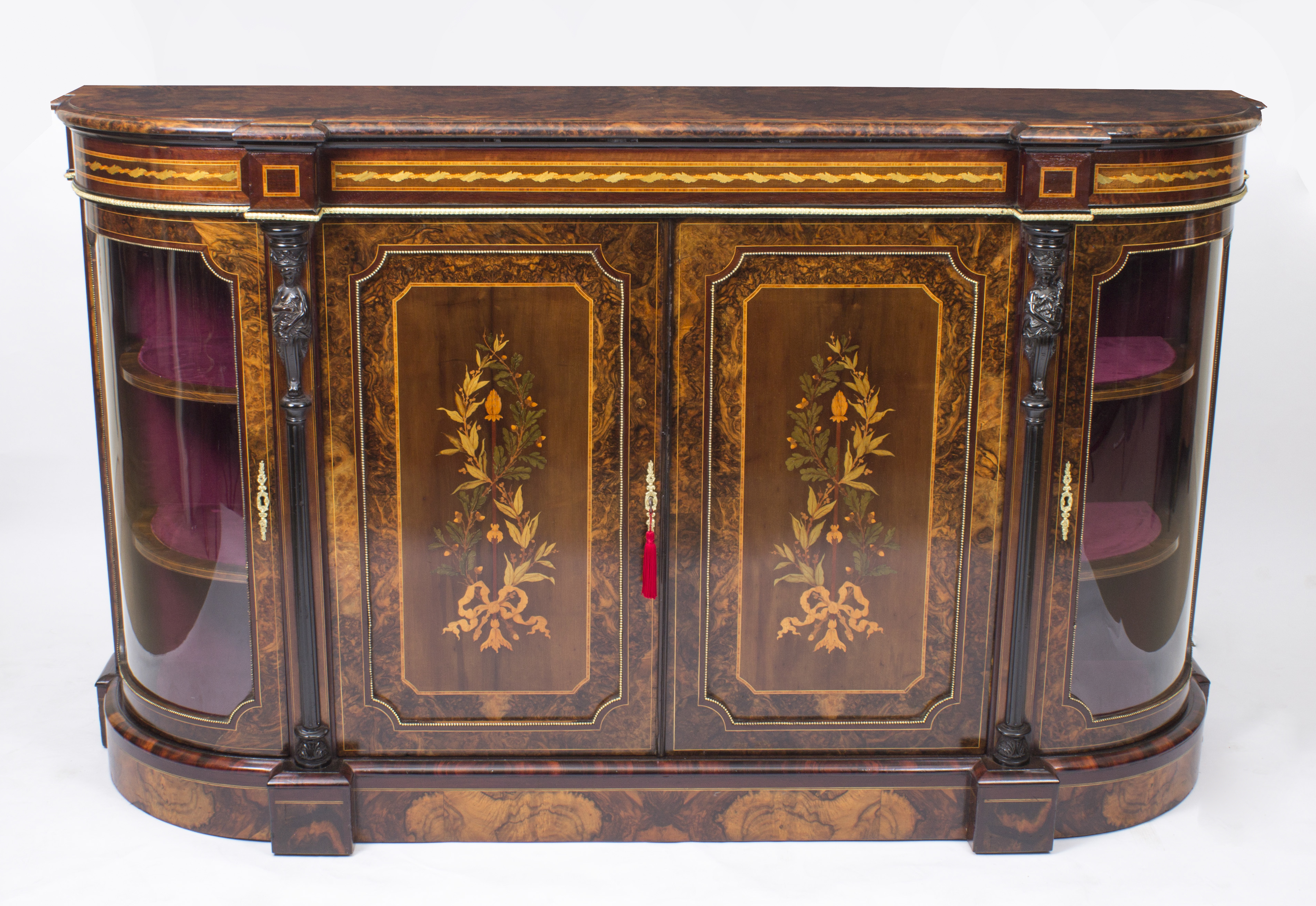 Antique Victorian Burr Walnut & Floral Marquetry Credenza C (View 19 of 20)