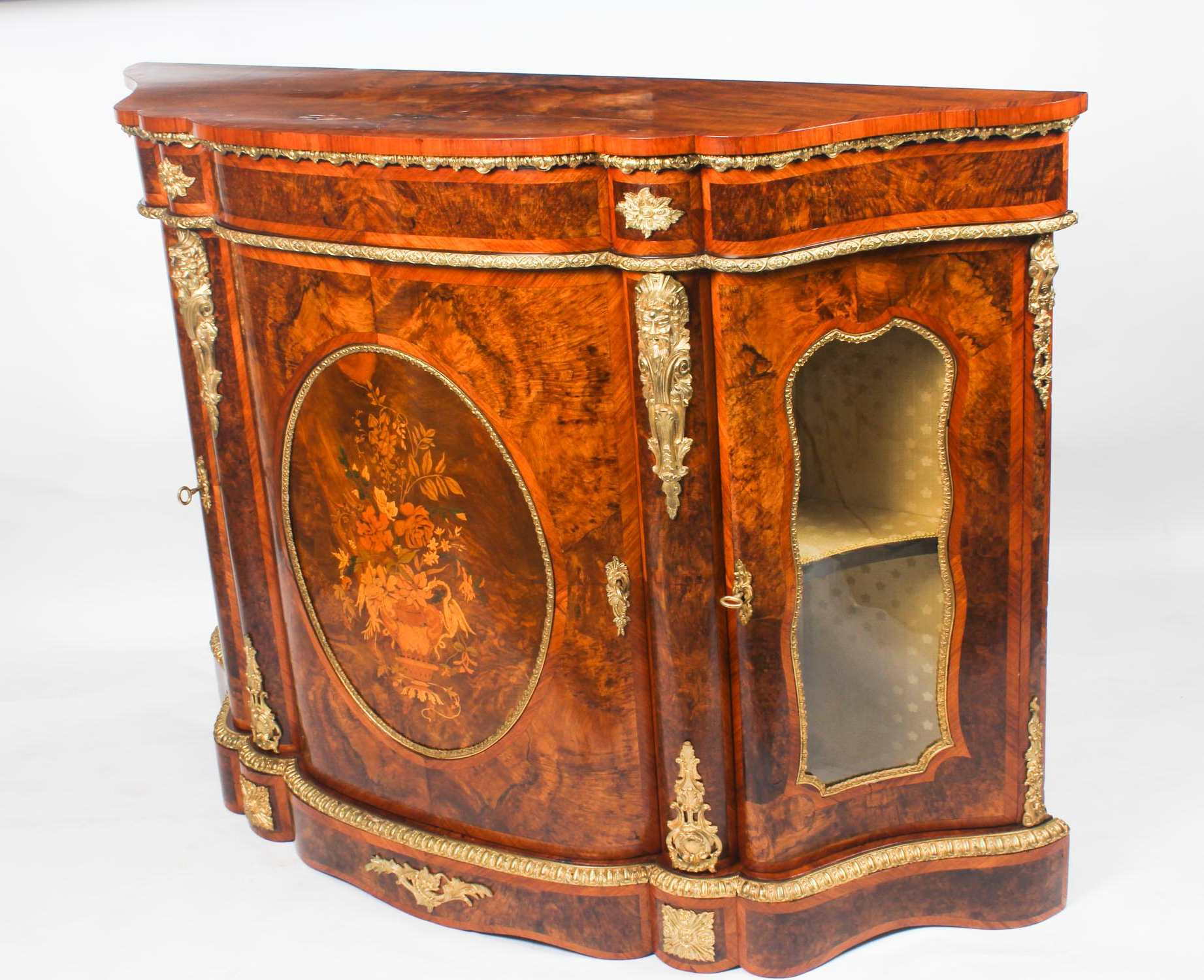 Antique Victorian Serpentine Burr Walnut Marquetry Credenza With Floral Beauty Credenzas (View 2 of 20)