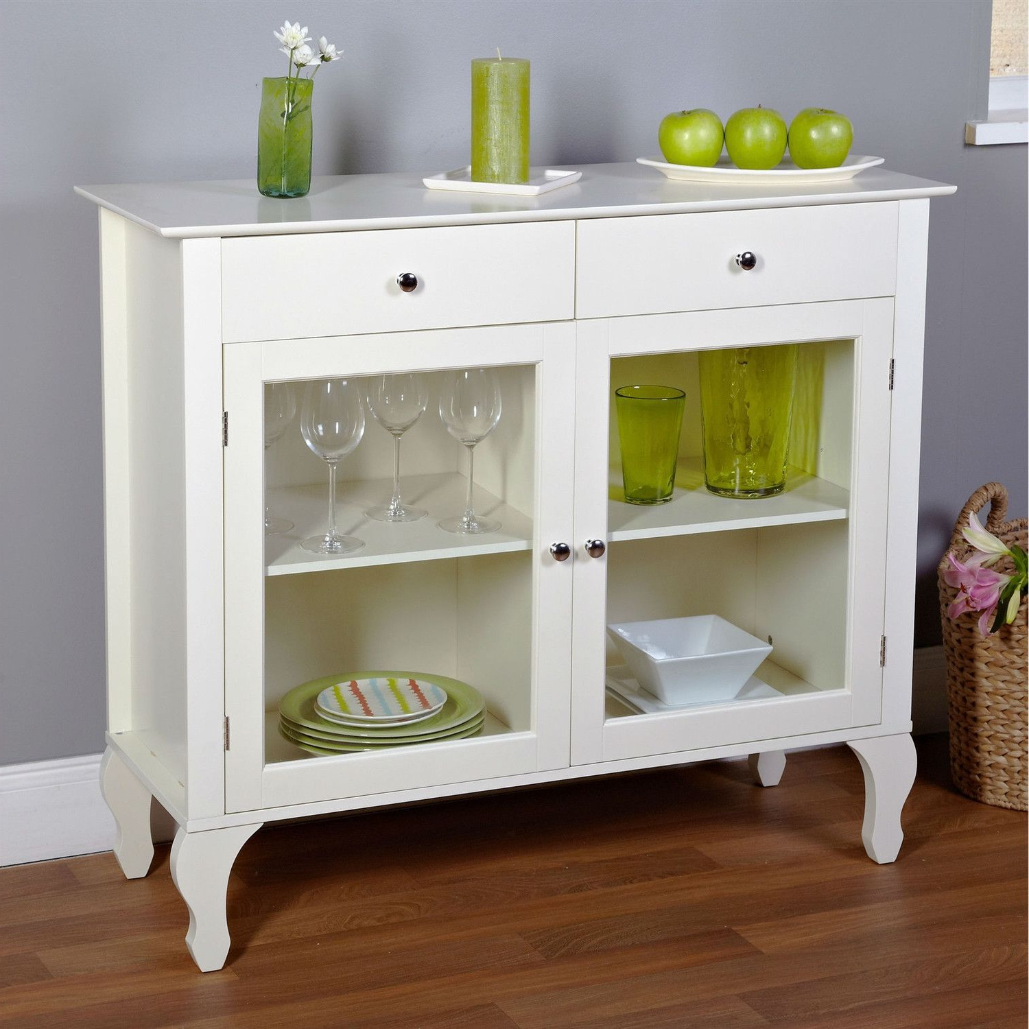 Antique White Sideboard Buffet Console Table With Glass With Regard To Simple Living Layla Black Buffets (View 2 of 20)