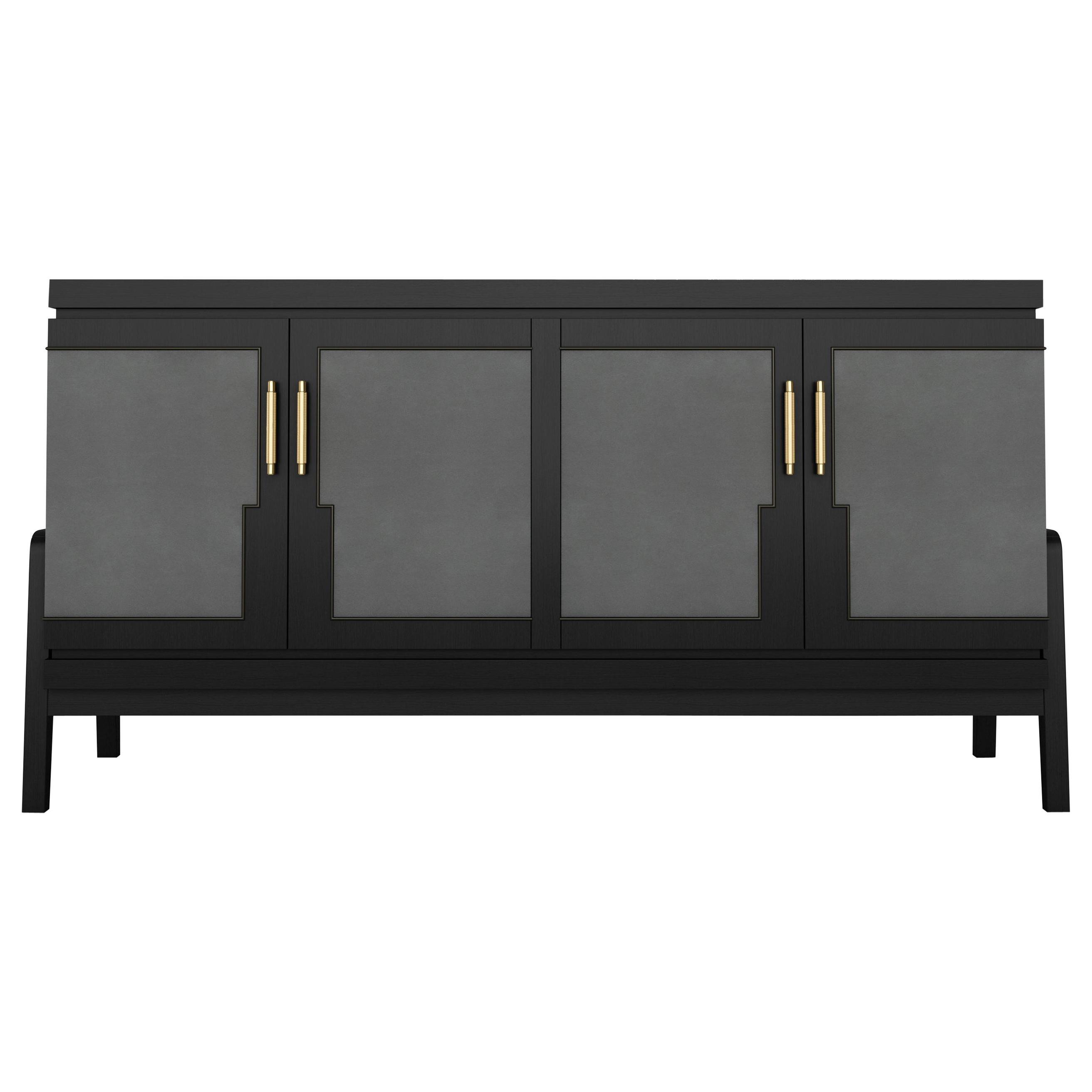 Art Deco Inspired Cupid Credenza In Show Wood And Upholstered With Novasuede Pertaining To Wooden Deconstruction Credenzas (View 13 of 20)
