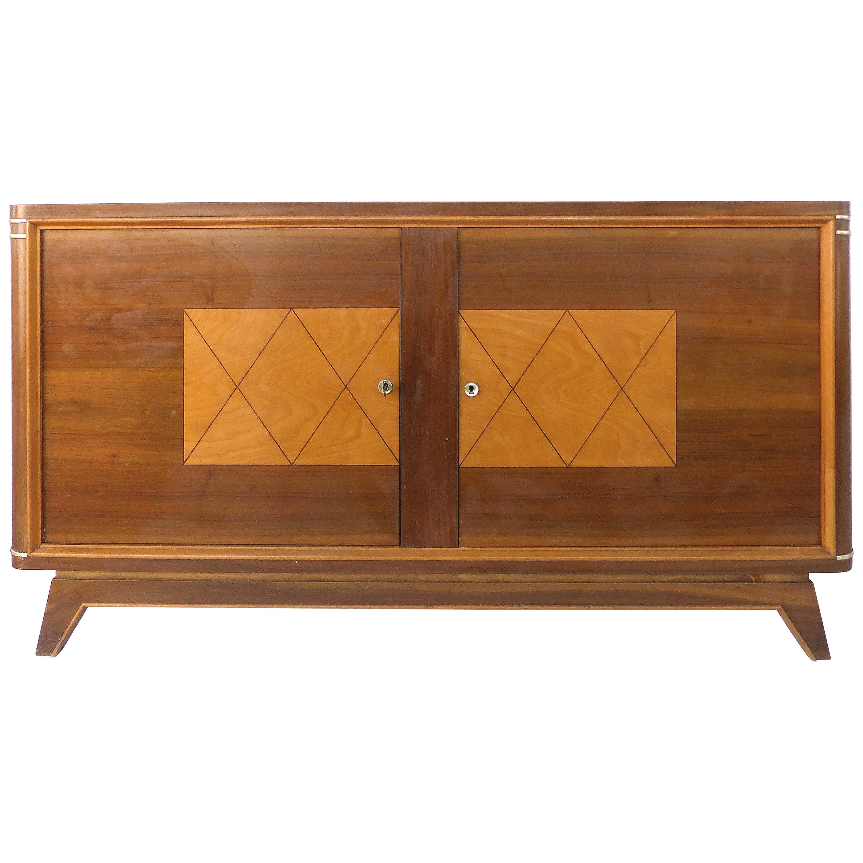 Art Deco Style Blush Pink Three Door Credenza With Geometric Detail & Brass Legs For Blush Deco Credenzas (View 7 of 20)