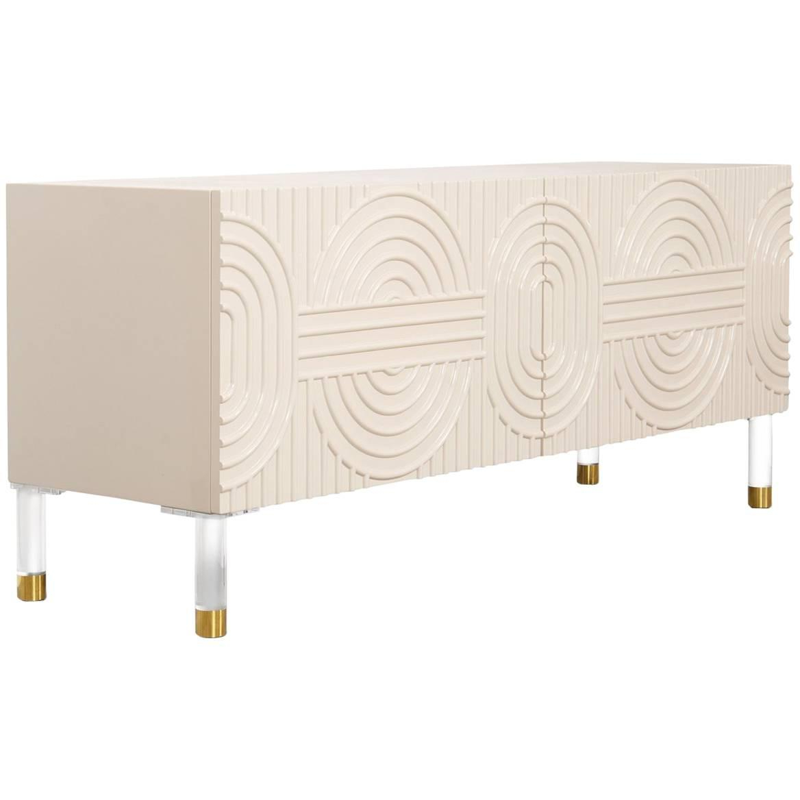Art Deco Style Blush Pink Three Door Credenza With Geometric Detail & Brass Legs Intended For Blush Deco Credenzas (View 18 of 20)