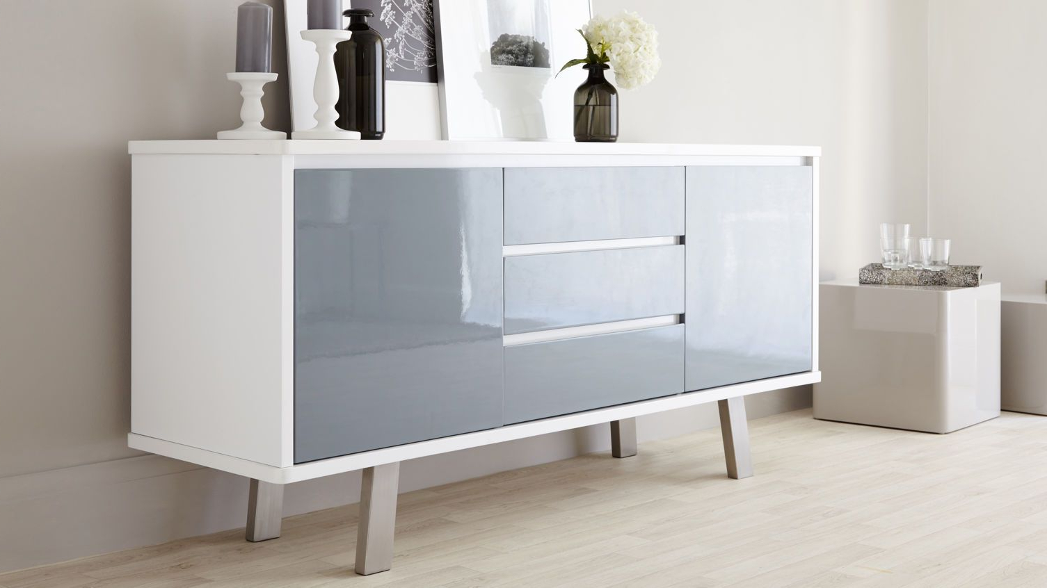 Assi White And Grey Gloss Sideboard | Danetti | Stylish Intended For White Wood And Chrome Metal High Gloss Buffets (View 1 of 20)