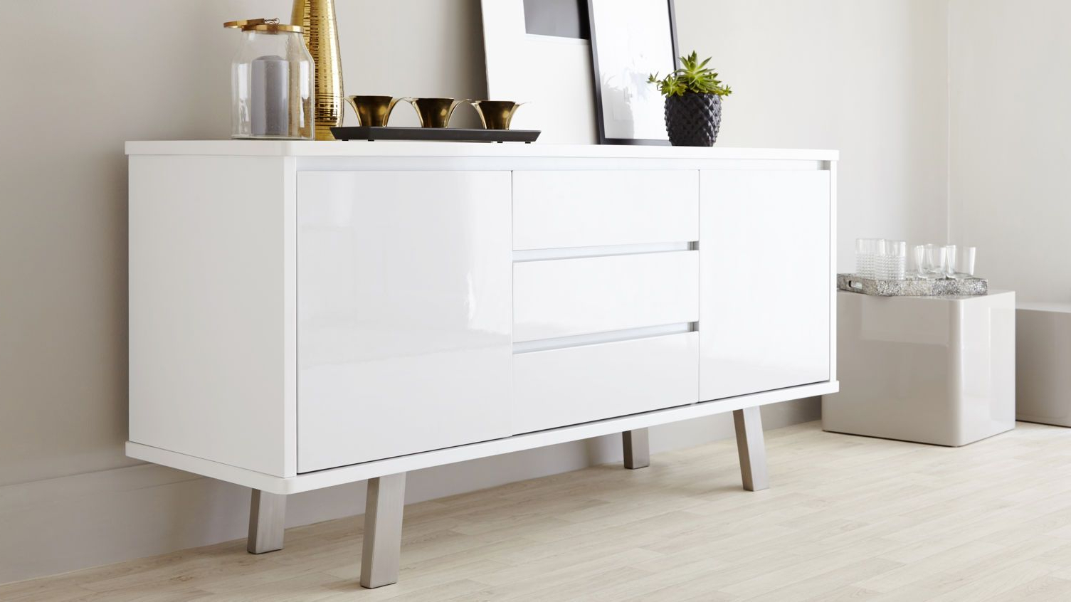 Assi White Gloss Sideboard | Danetti | Stylish Sideboards In With Regard To White Wood And Chrome Metal High Gloss Buffets (View 2 of 20)