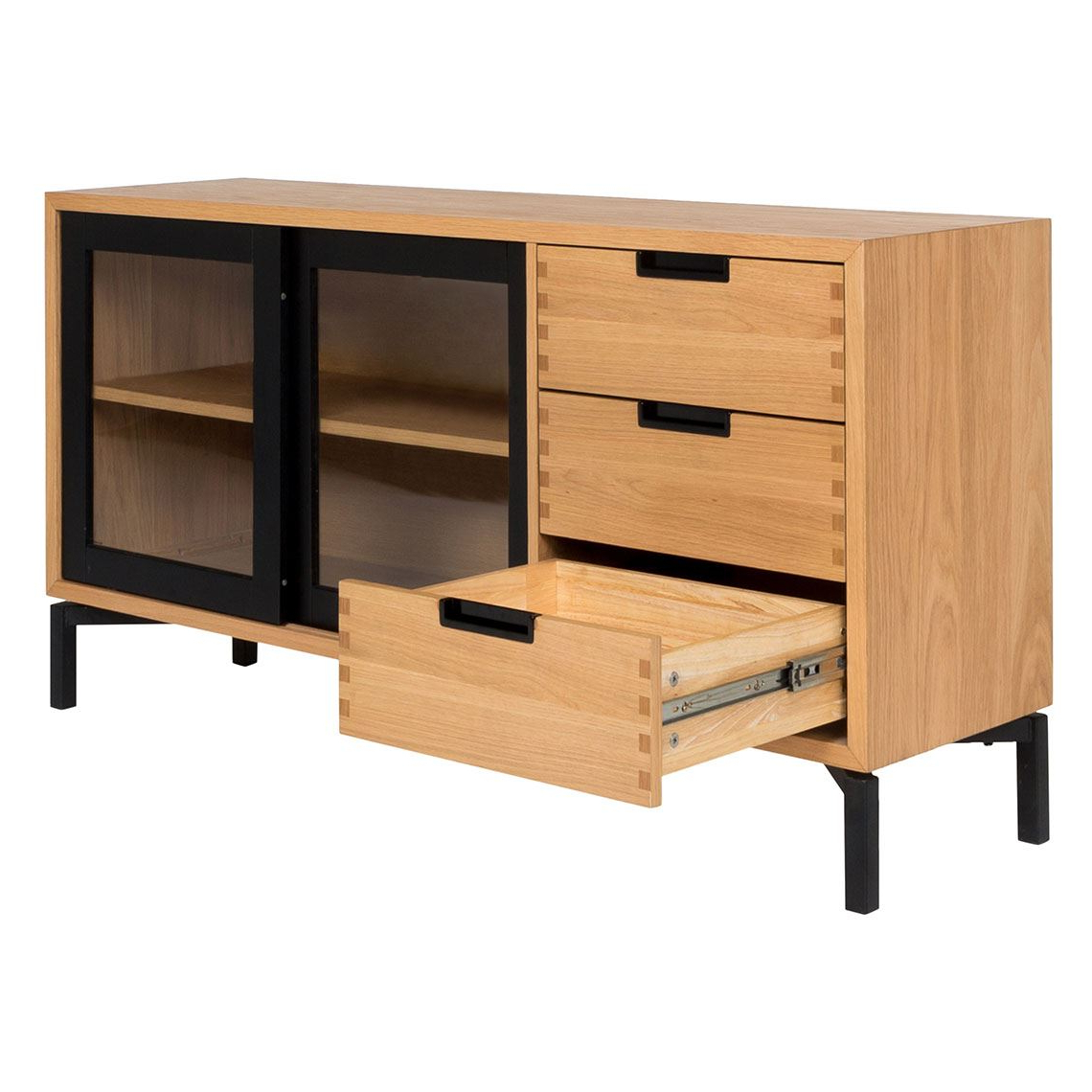 Atelier 2 Door 3 Drawer Buffet, Black & Oak With 3 Drawer Black Storage Buffets (View 2 of 20)