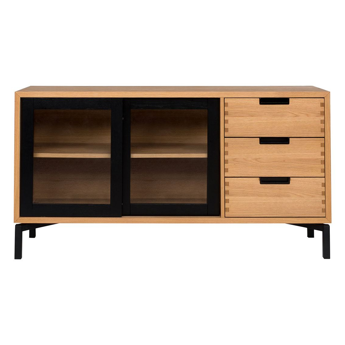 Atelier 2 Door 3 Drawer Buffet, Black & Oak With Industrial Style 3 Drawer Buffets (View 6 of 20)