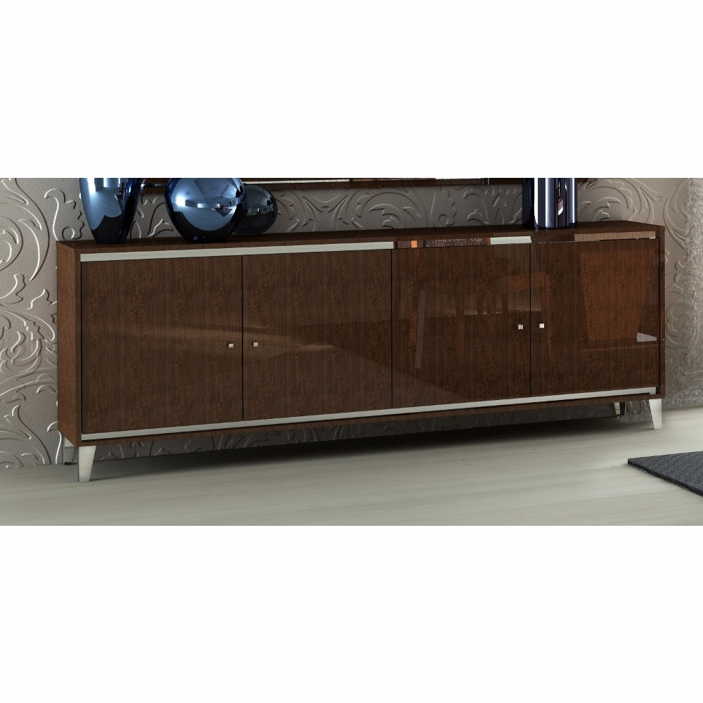 Athome Usa – Caprice 4/drawer Buffet In Walnut Lacquer Finish – Cadnob400 For 4 Door Lacquer Buffets (View 1 of 20)