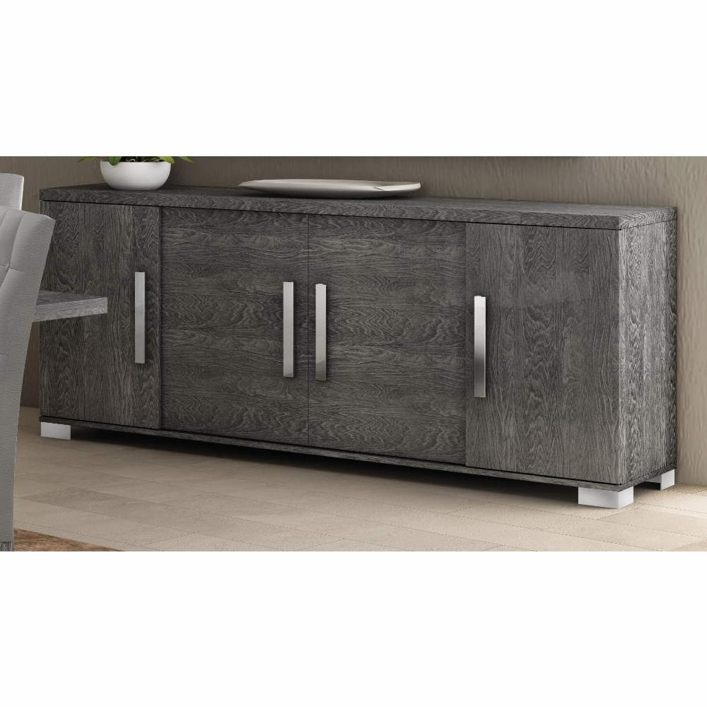 Athome Usa – Sarah 4/drawer Buffet In Grey Birch Lacquer Finish – Sadgrb401 For 4 Door Lacquer Buffets (View 2 of 20)