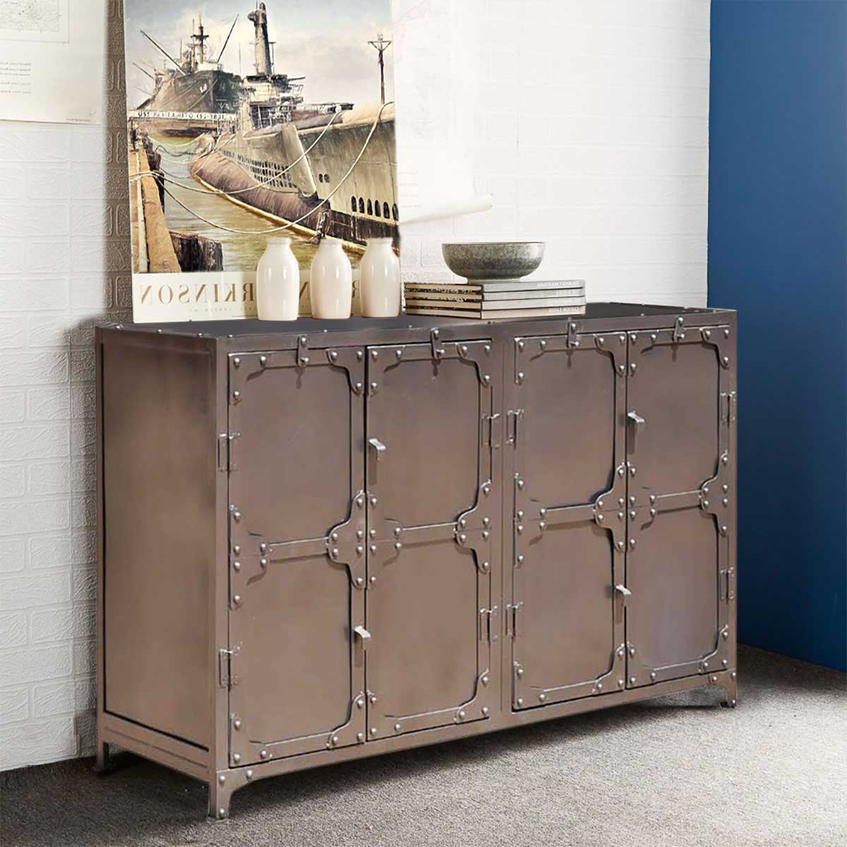 Austin Classic Iron 4 Door Industrial Buffet Cabinet With Regard To Industrial Style 3 Drawer Buffets (View 20 of 20)