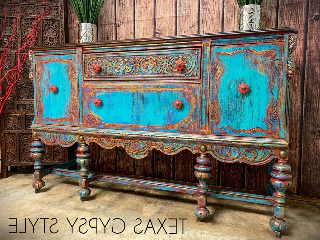 Available! Gypsy Boho Jacobean Buffet, Sideboard, Tv Console Pertaining To Southwest Pink Credenzas (View 10 of 20)