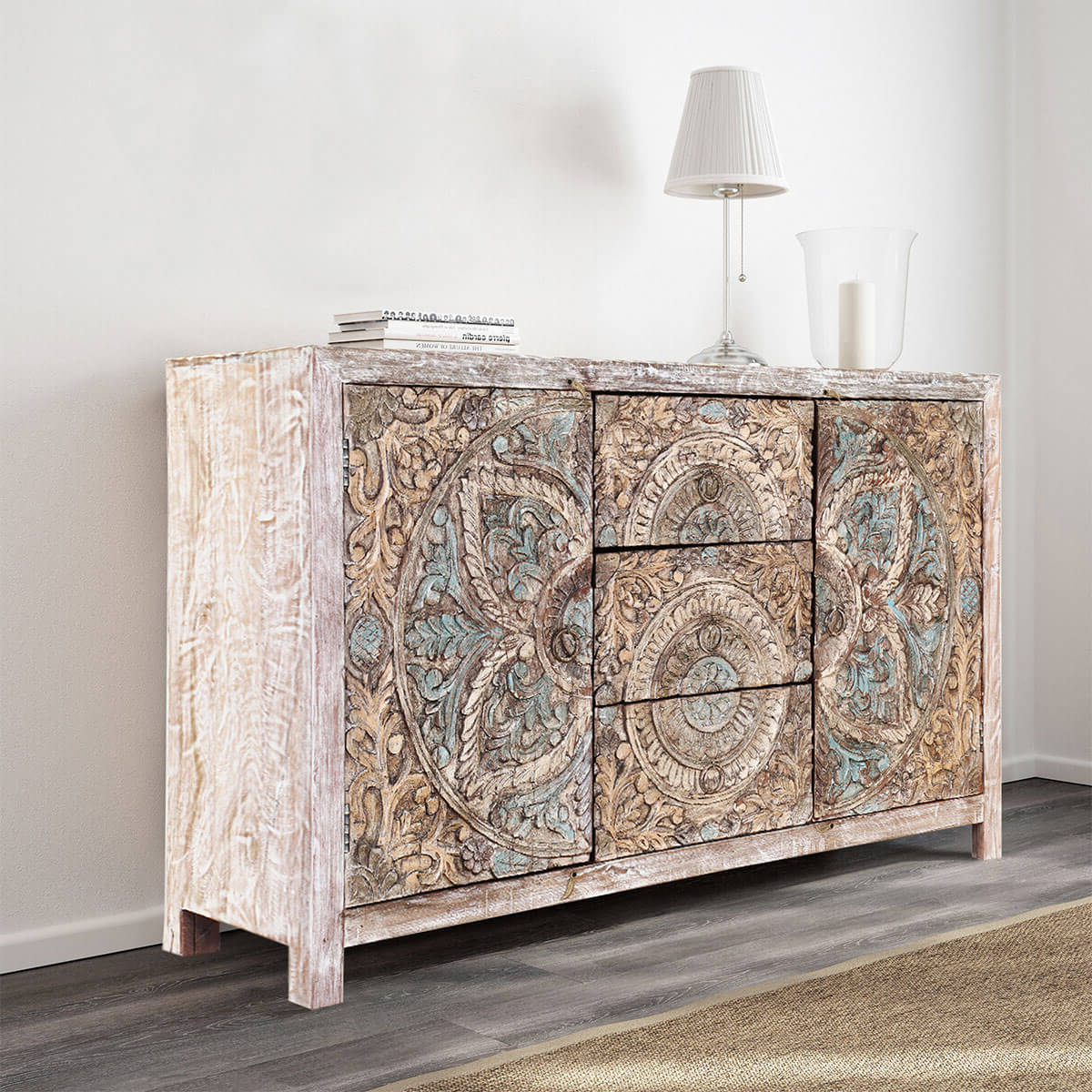 Avenal Floral Mandalas Solid Wood Hand Carved Accent Buffet Cabinet With Regard To Grey Wooden Accent Buffets (View 17 of 20)