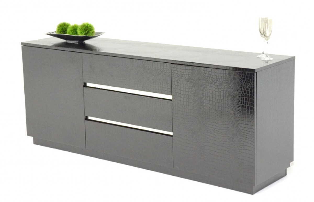 A&x Skyline Modern Black Crocodile Lacquer Buffet – Buffets With Regard To Modern Lacquer 2 Door 3 Drawer Buffets (View 12 of 20)
