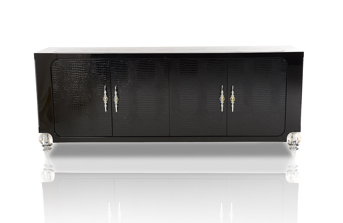 Baccarat Transitional Black Crocodile Lacquer Buffet For 4 Door Lacquer Buffets (View 3 of 20)