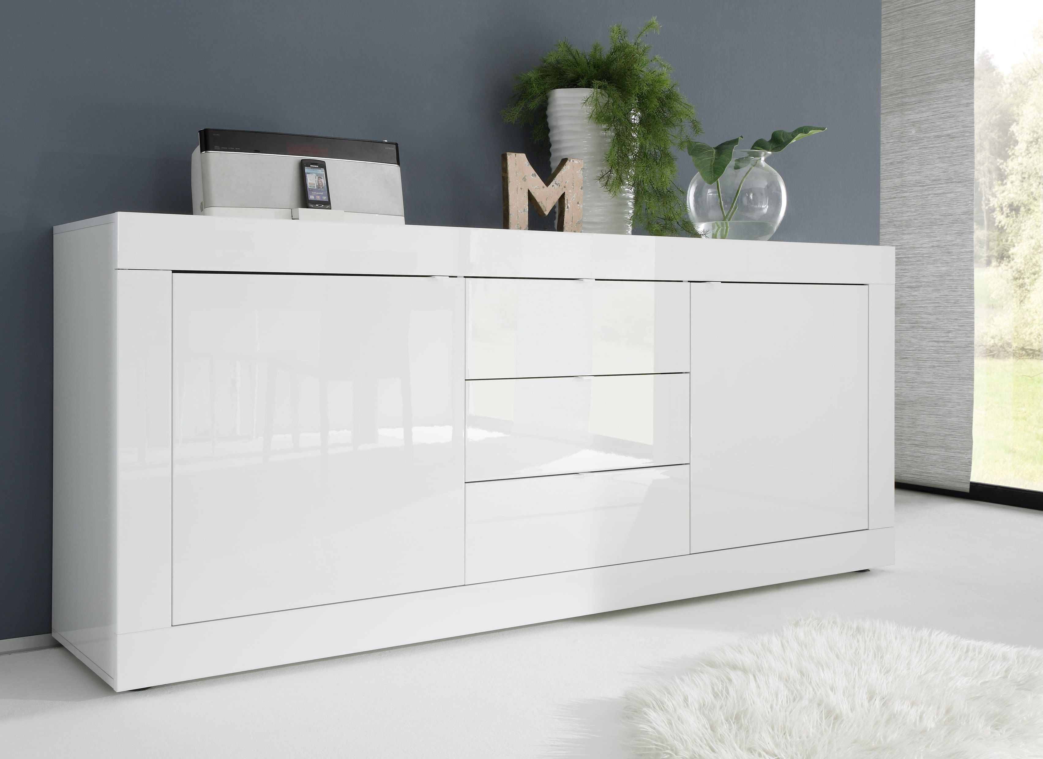 Basic Contemporary White Glossy Lacquer Dining Buffet | B With Regard To Modern Lacquer 2 Door 3 Drawer Buffets (View 15 of 20)