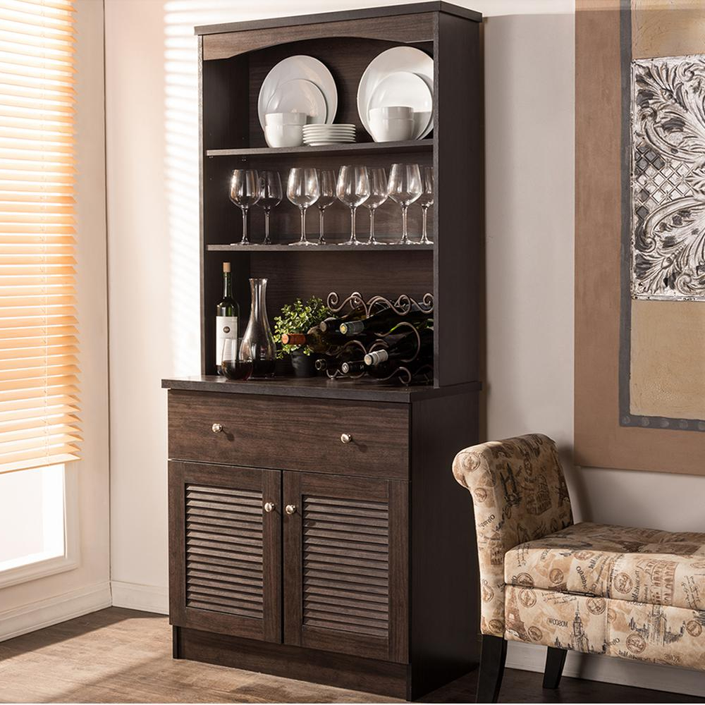 Baxton Studio Agni Dark Brown Wood Buffet With Hutch 28862 Inside Contemporary Espresso Dining Buffets (View 2 of 20)