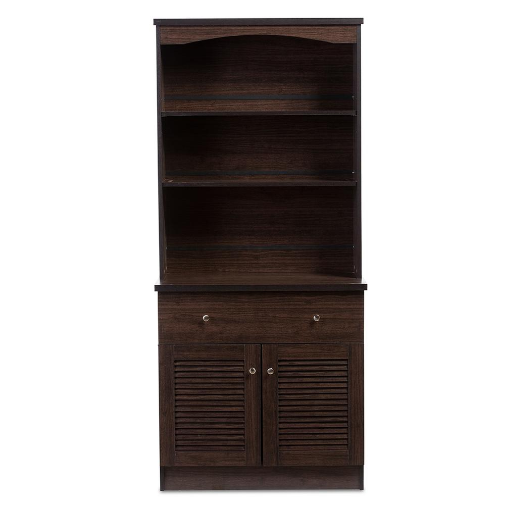 Baxton Studio Agni Dark Brown Wood Buffet With Hutch 28862 Within Contemporary Espresso 2 Cabinet Dining Buffets (View 1 of 20)