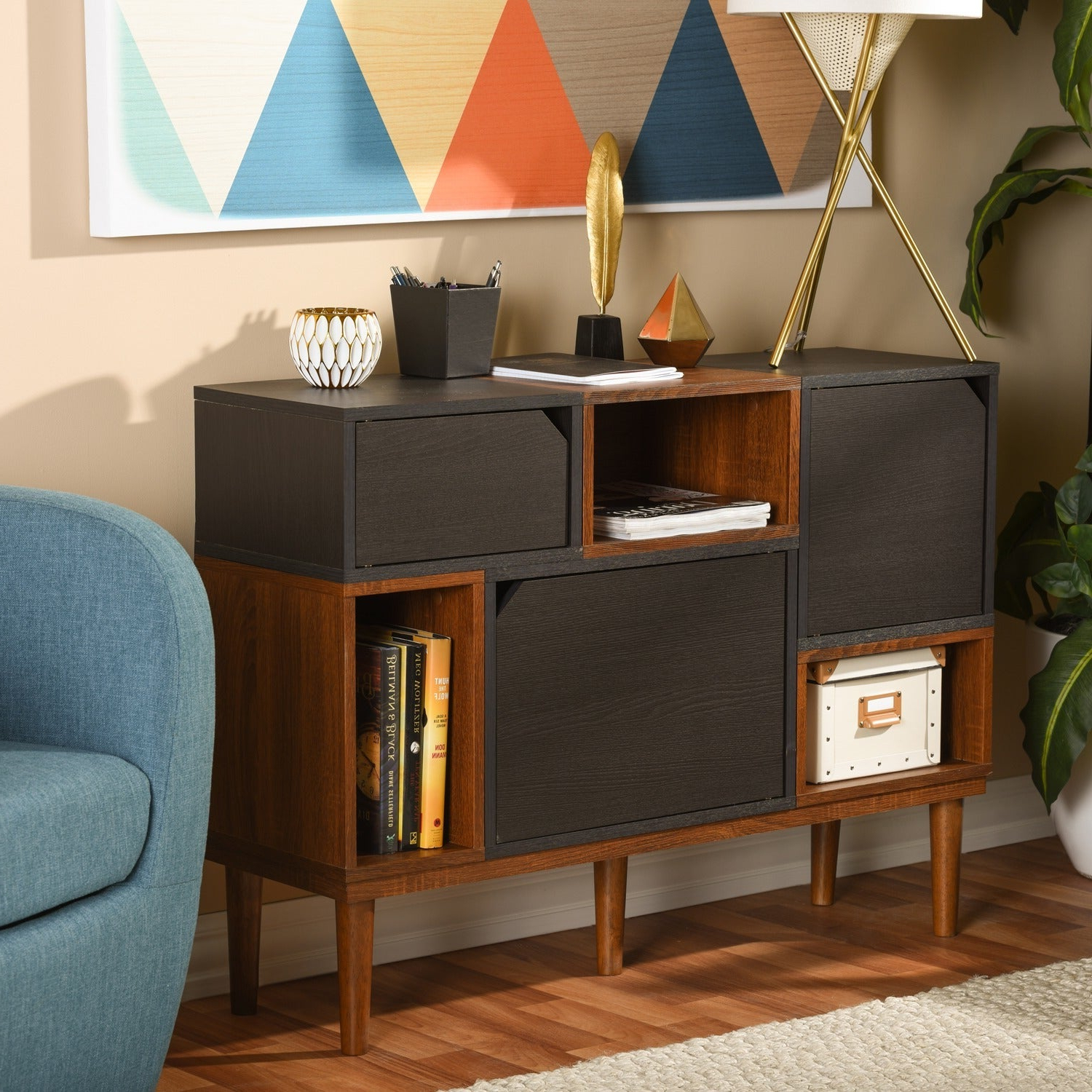 Baxton Studio Anderson Mid Century Retro Modern Oak And Espresso Wood  Sideboard Storage Cabinet With Regard To Mid Century Retro Modern Oak And Espresso Wood Buffets (View 4 of 20)