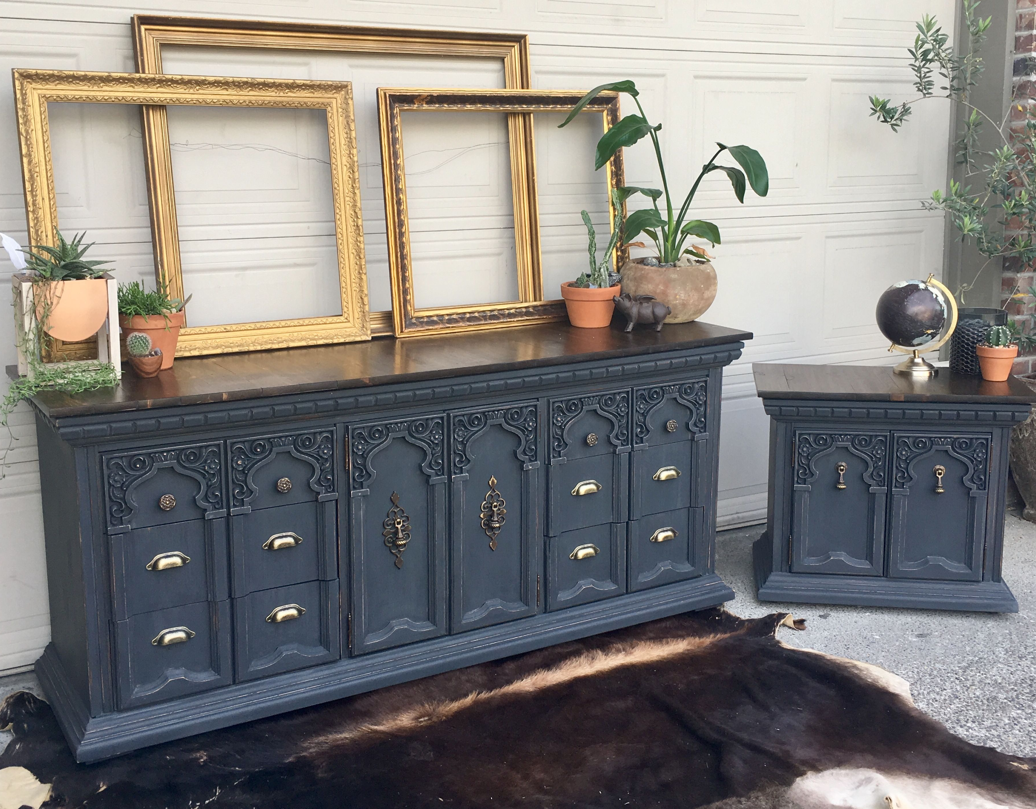 Beautiful Farmhouse Buffet / Dresser Painted A Charcoal Grey Pertaining To Grey Wooden Accent Buffets (View 10 of 20)
