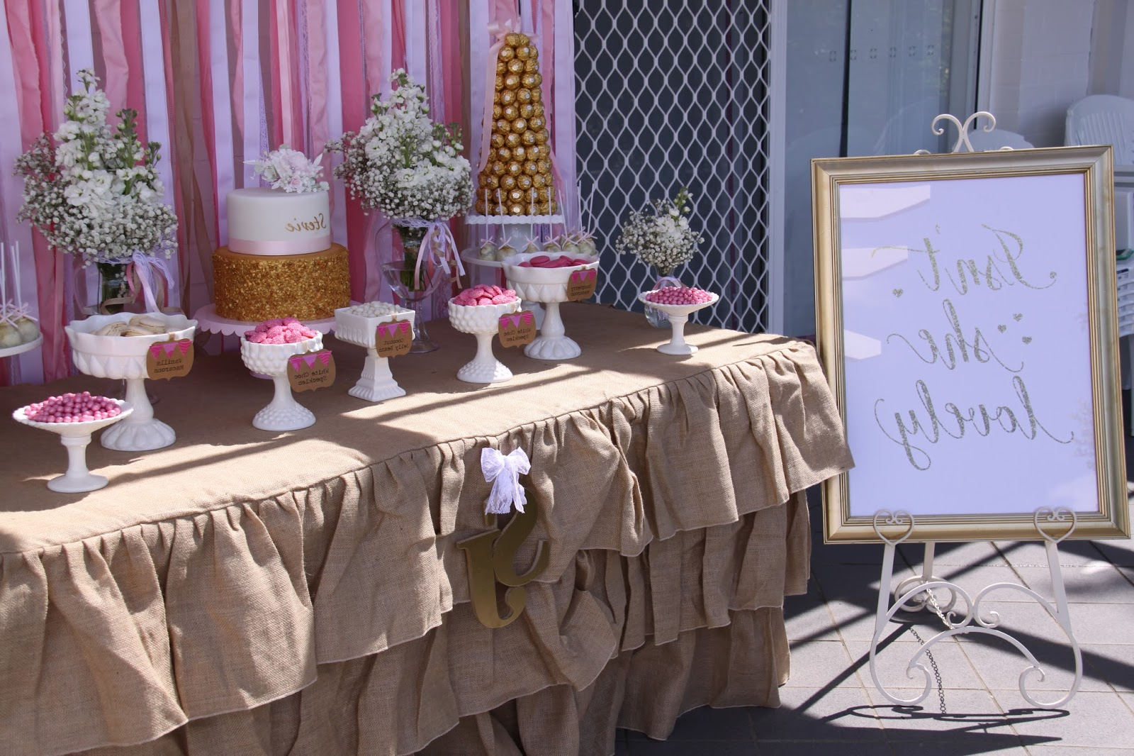 Beautiful Pink And Gold Christeningmemories Are Sweet Pertaining To Pink And White Geometric Buffets (View 12 of 20)