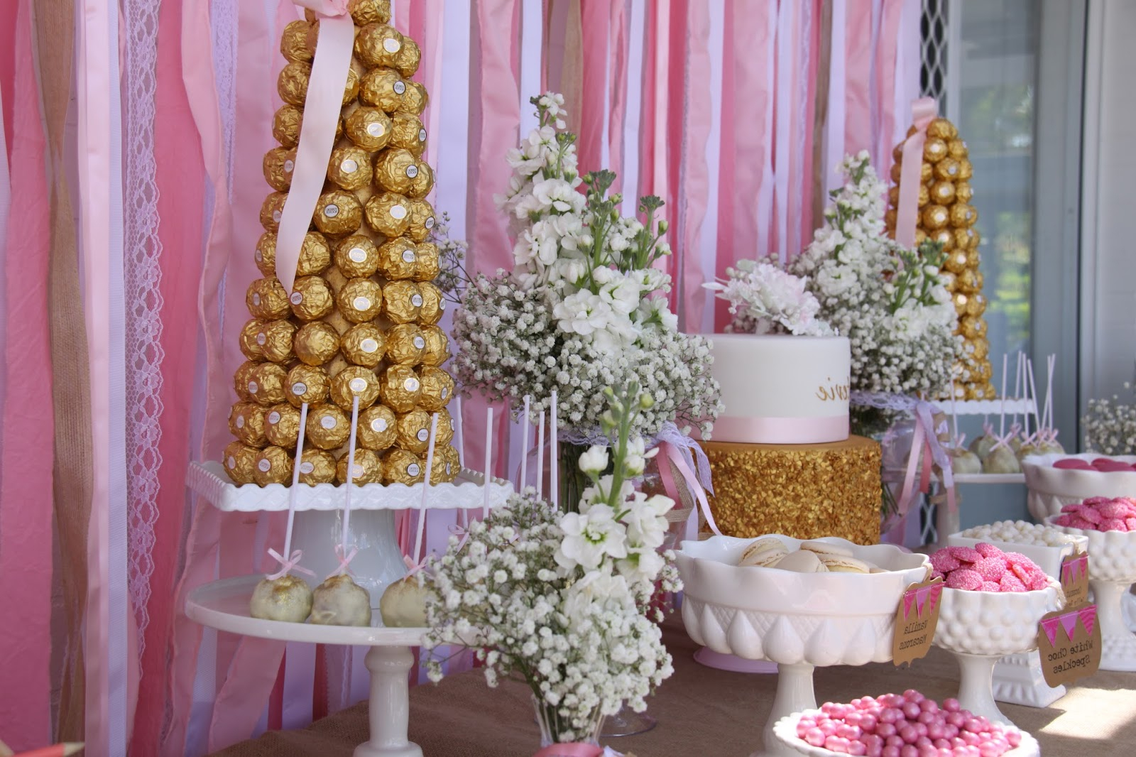 Beautiful Pink And Gold Christeningmemories Are Sweet Regarding Pink And White Geometric Buffets (View 11 of 20)