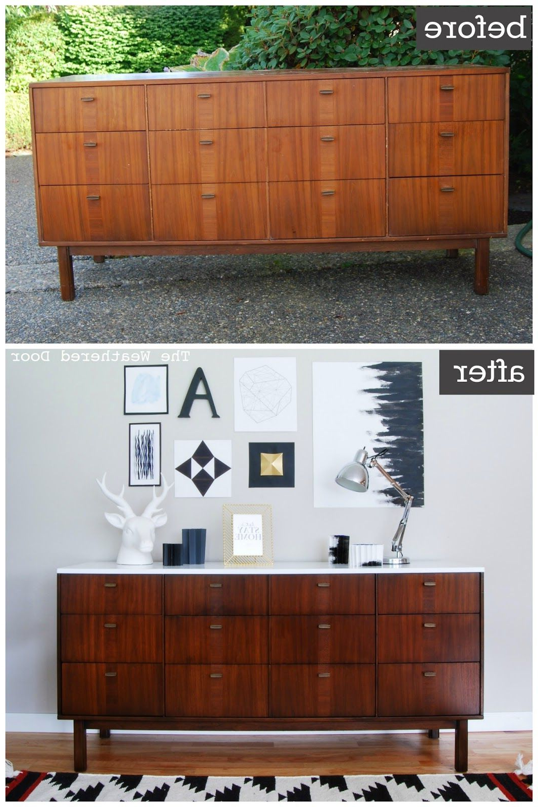 Before & After: Mid Century Modern Credenza With A Glossy With Regard To Mid Century Modern Glossy White Buffets (View 2 of 20)