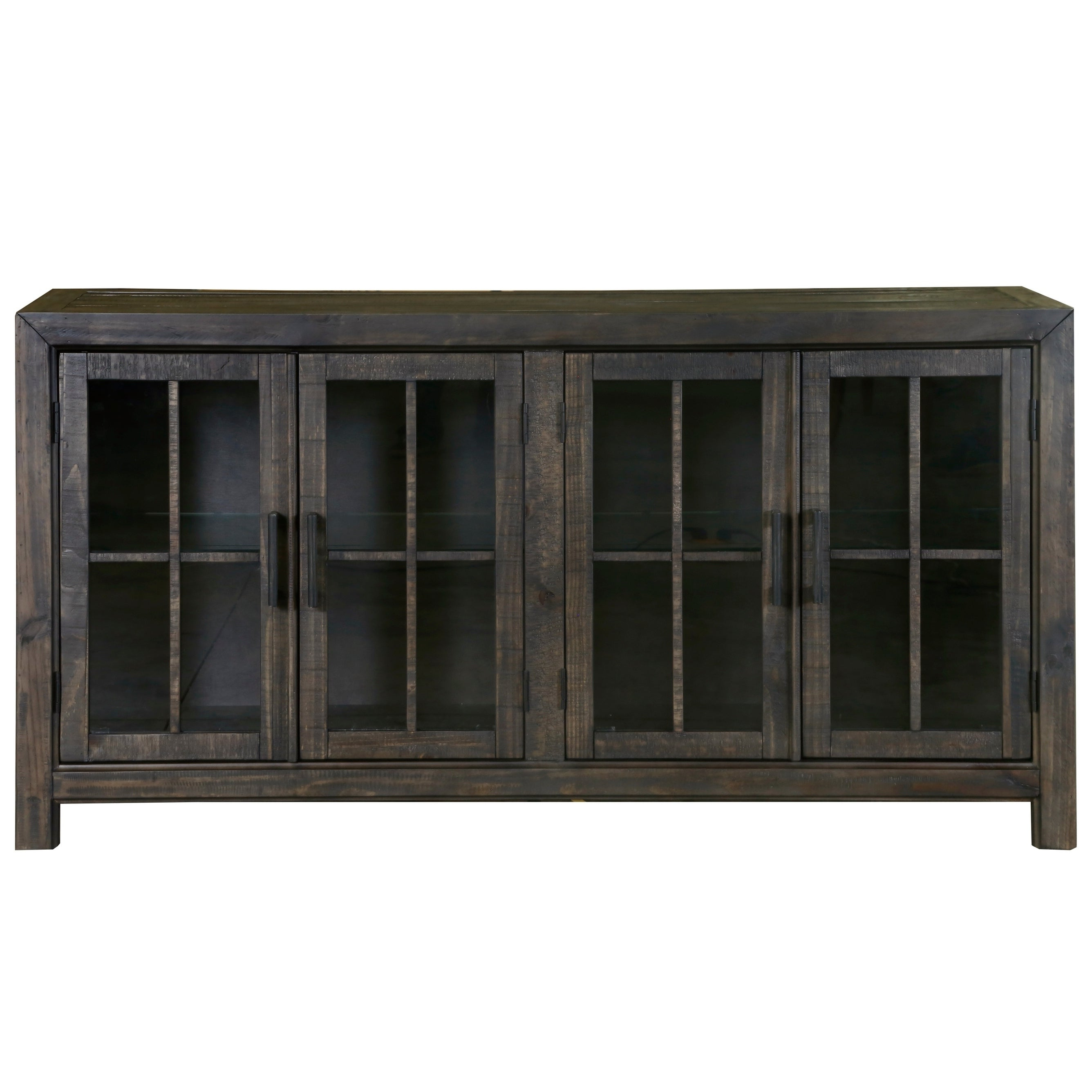 Bellamy Traditional Peppercorn Wood Buffet Curio With Regard To White Wood And Chrome Metal High Gloss Buffets (View 14 of 20)