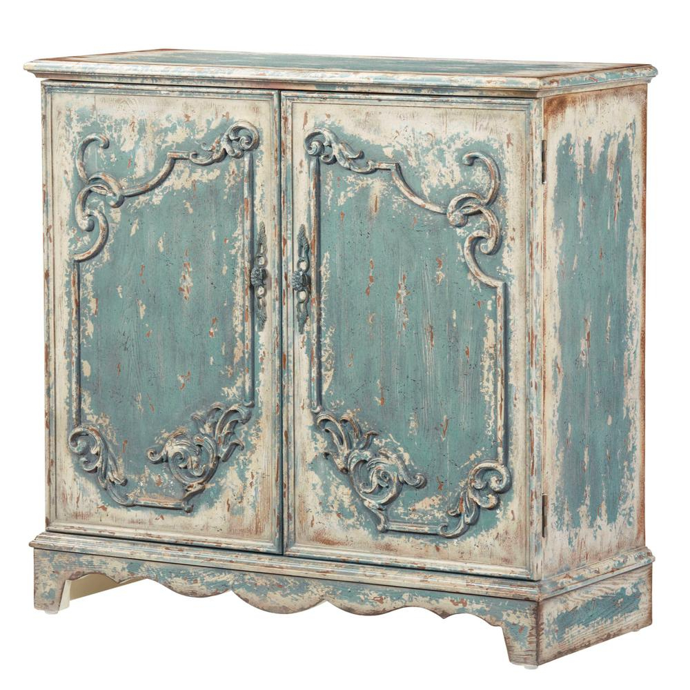 Belle Antique French Blue Credenza/console Cabinet For Blue Stained Glass Credenzas (View 1 of 20)