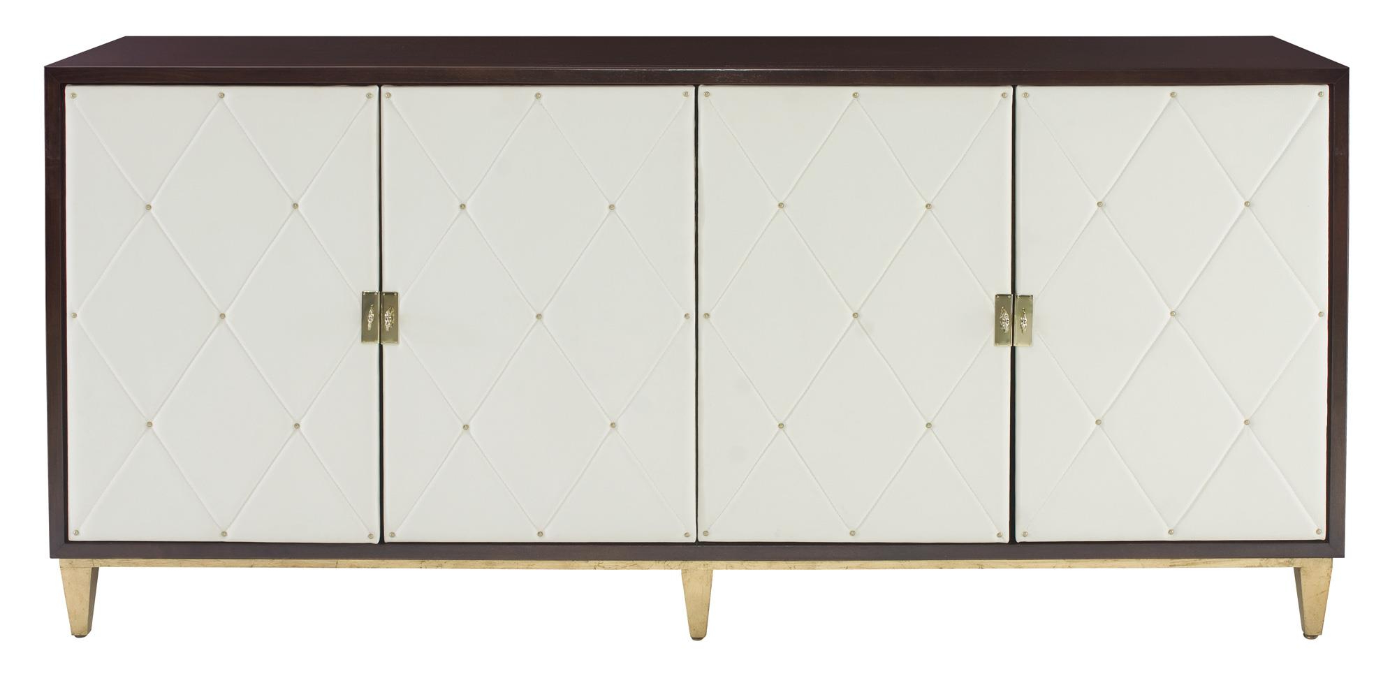 Bernhardt Jet Set 4 Door Buffet With Quilted Door Fronts With Regard To Contemporary Wooden Buffets With Four Open Compartments And Metal Tapered Legs (View 3 of 20)