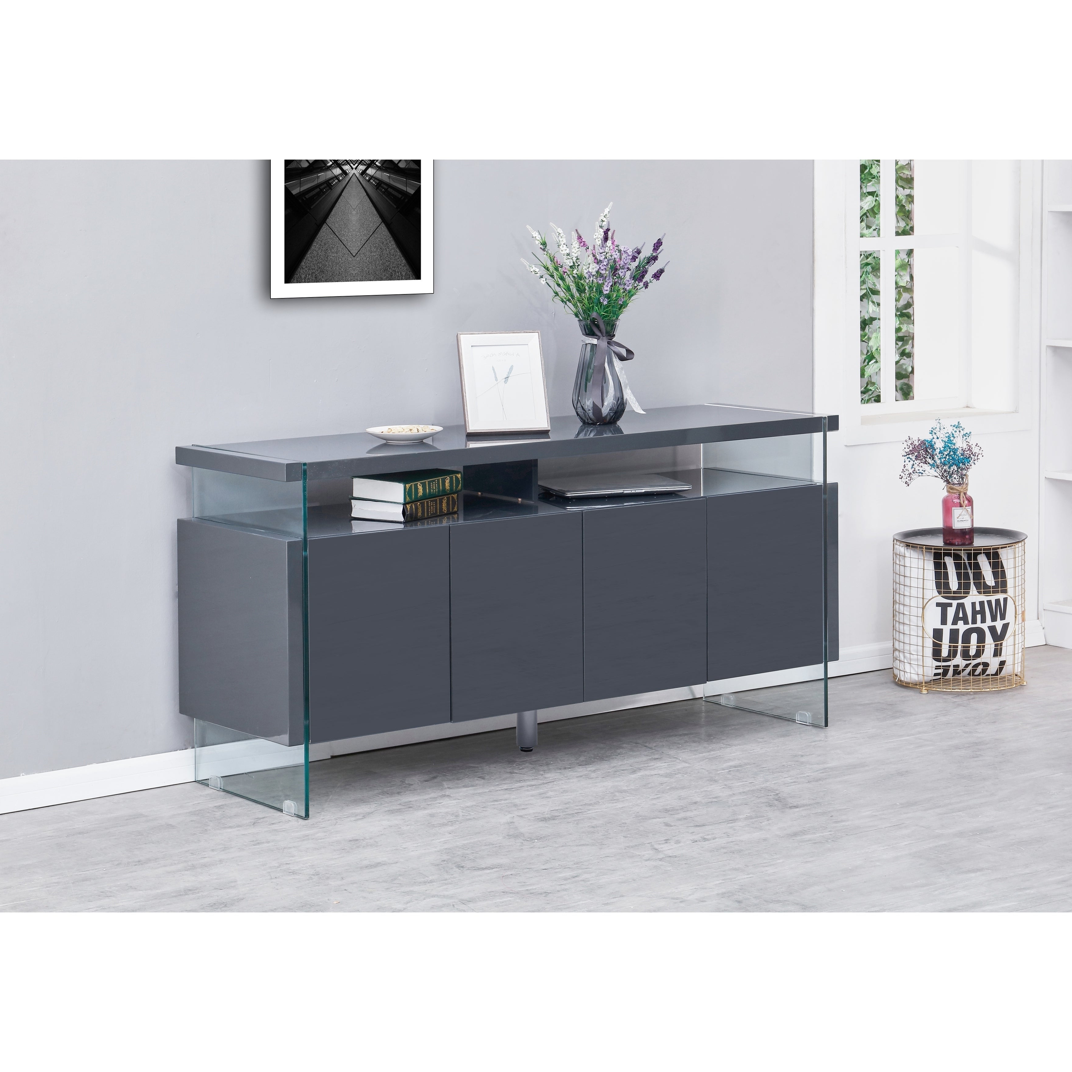 Best Quality Furniture 4 Door Lacquer Buffet Server Pertaining To Modern Lacquer 2 Door 3 Drawer Buffets (View 7 of 20)