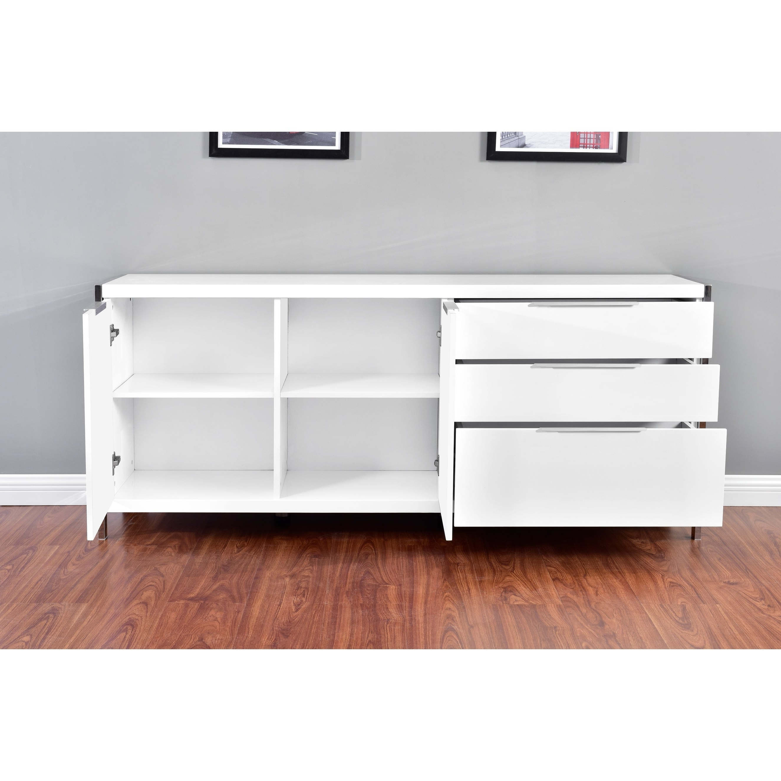 Best Quality Furniture Modern Lacquer 2 Door, 3 Drawer Cabinet With Regard To Modern Lacquer 2 Door 3 Drawer Buffets (View 4 of 20)