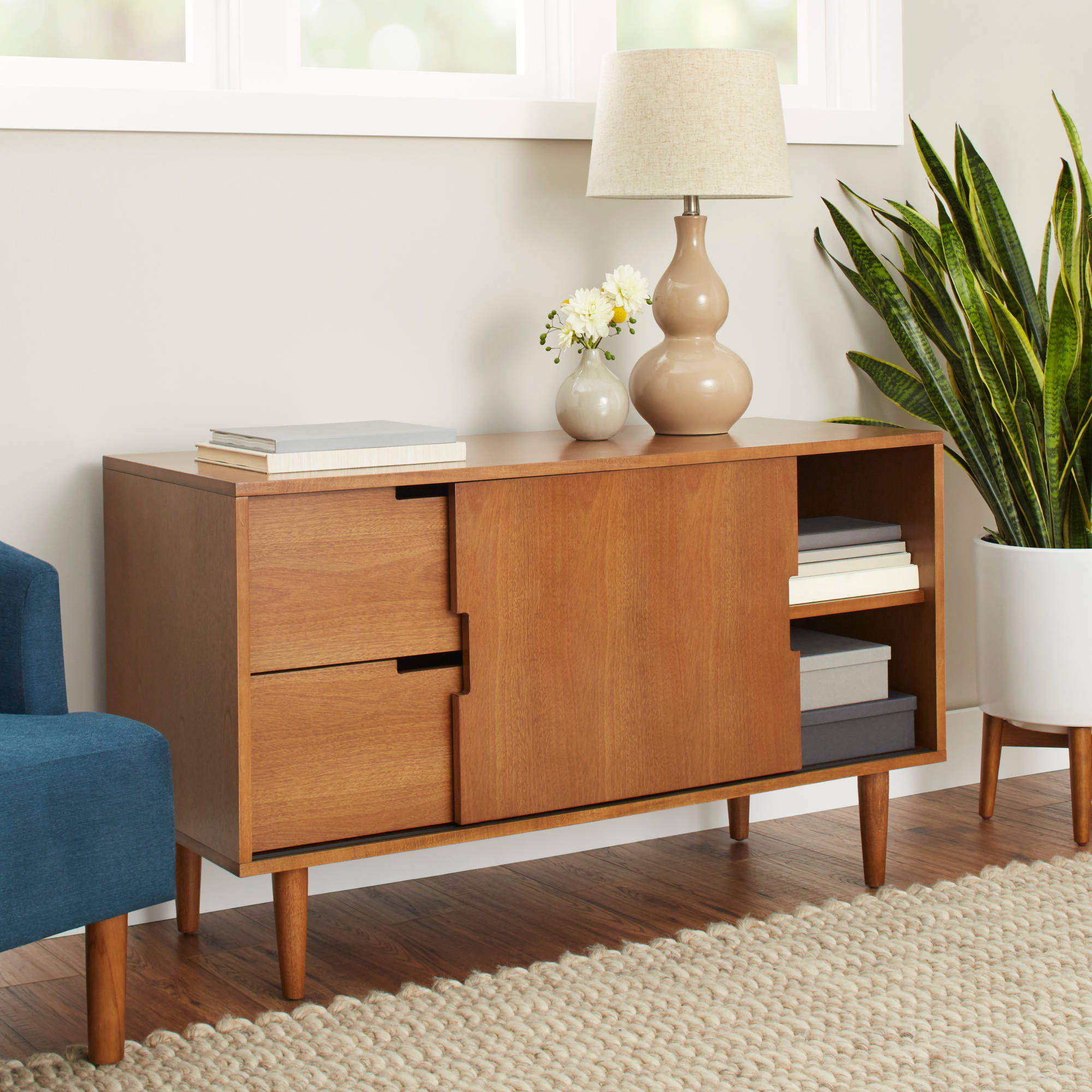 Better Homes And Gardens Flynn Mid Century Modern Credenza, Pecan Intended For Mid Century 3 Cabinet Buffets (View 6 of 20)