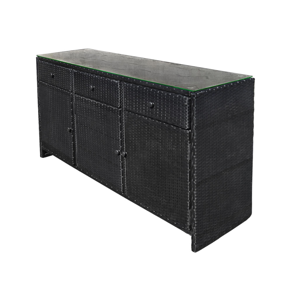 Black 3 Drawers Wicker Rattan Buffet Serving Cabinet Table Towel Storage  Counter Throughout 3 Drawer Storage Buffets (View 3 of 20)