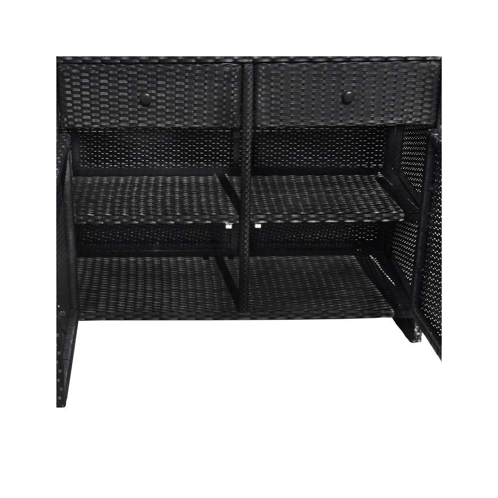 Black 3 Drawers Wicker Rattan Buffet Serving Cabinet Table Towel Storage Counter Within 3 Drawer Black Storage Buffets (View 9 of 20)