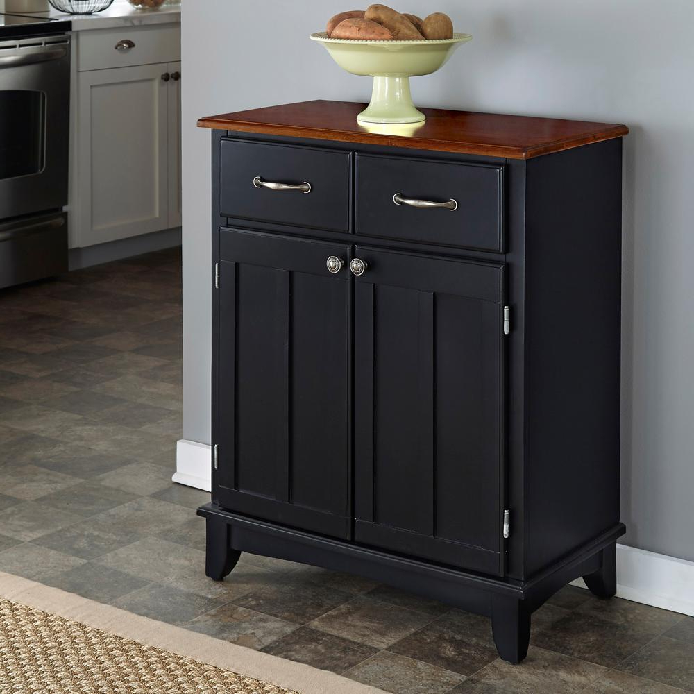 Black And Cottage Oak Buffet With Storage Intended For Black Hutch Buffets With Stainless Top (View 7 of 20)