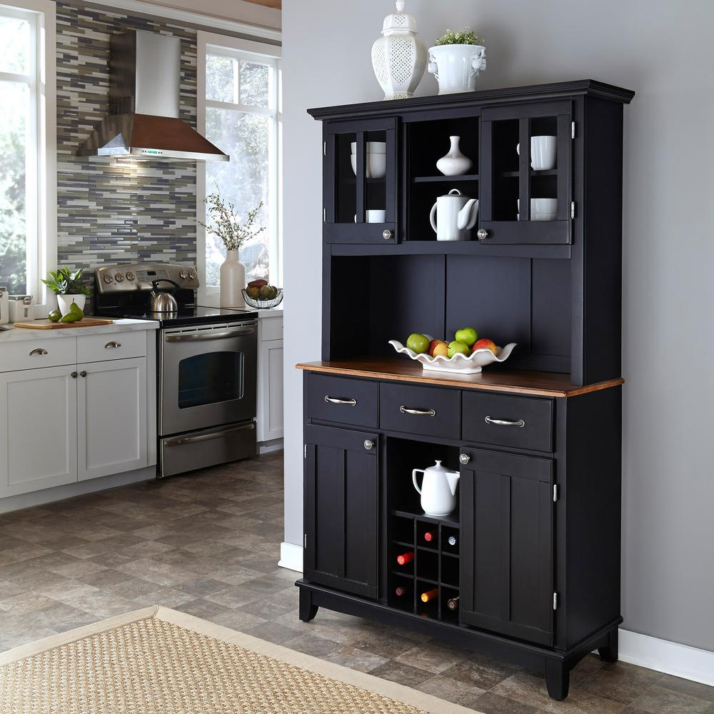 Black Buffet With Hutch Within 3 Drawer Black Storage Buffets (View 5 of 20)