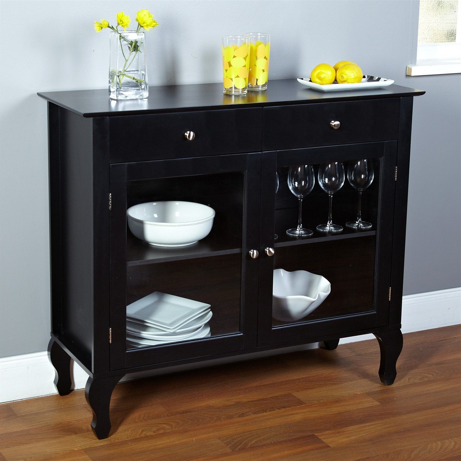 Black Dining Room Buffet Sideboard Server Cabinet With Glass Pertaining To Simple Living Montego Black Wooden Buffets (View 16 of 20)