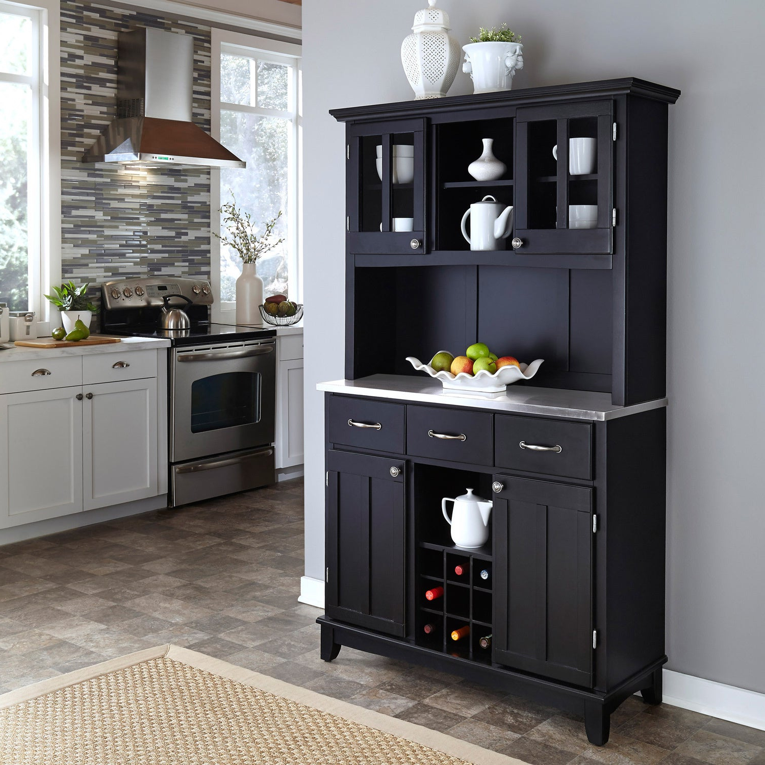 Featured Photo of Black Hutch Buffets With Stainless Top