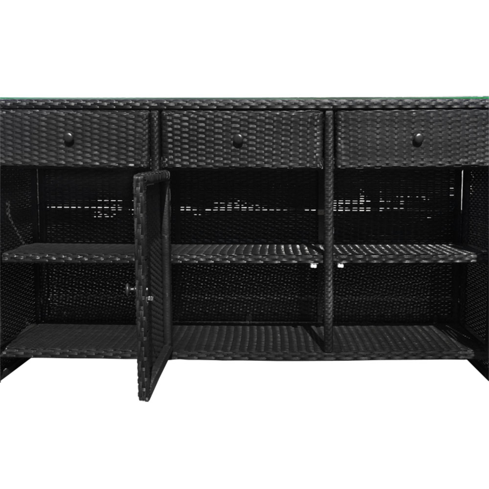 Black Outdoor/indoor 3 Drawers Wicker Rattan Storage Cabinet Buffet Counter Within 3 Drawer Black Storage Buffets (View 2 of 20)