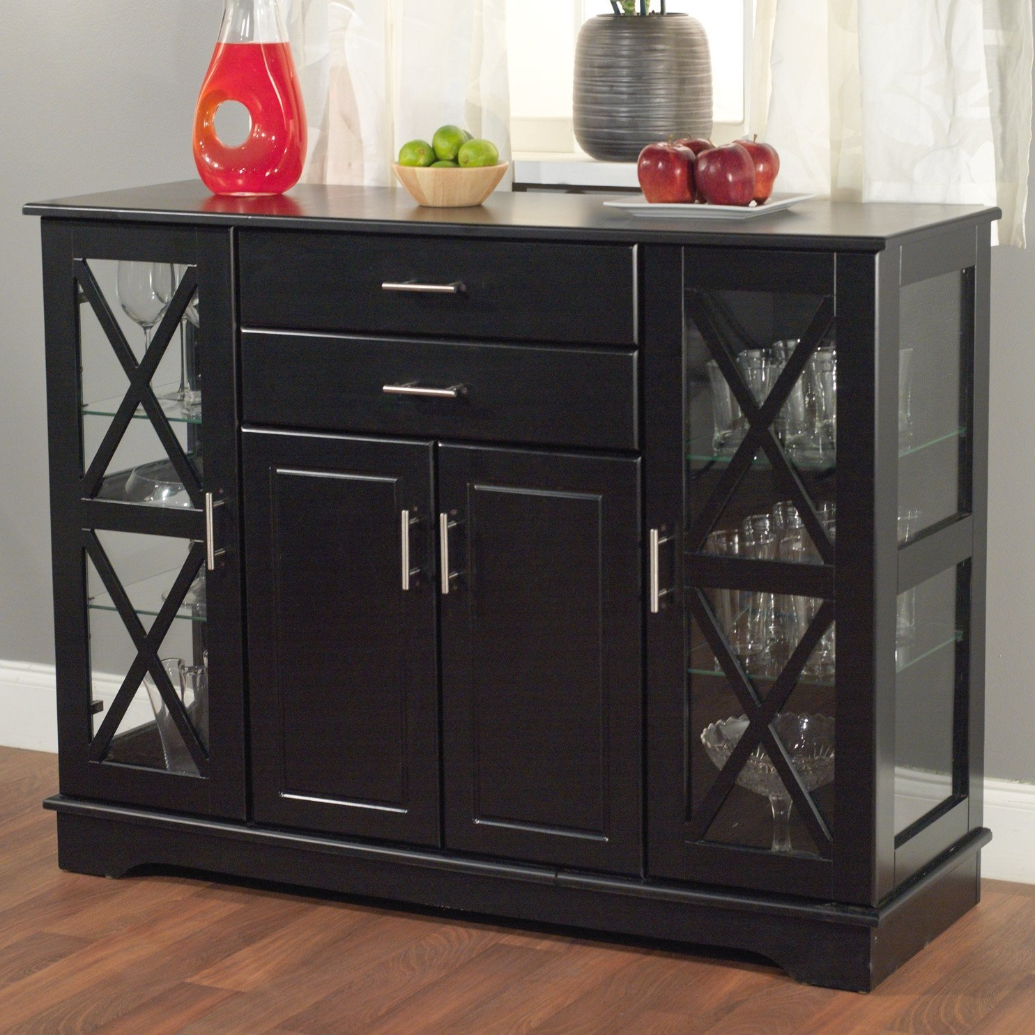 Black Wood Buffet Dining Room Sideboard With Glass Doors In Simple Living Southport Dining Buffets (View 1 of 20)