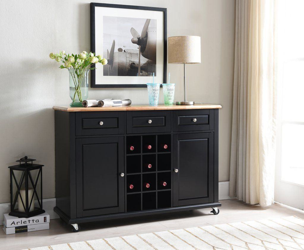 Black Wood Wine Rack Sideboard Buffet Display Console Table Within 3 Drawer Black Storage Buffets (View 7 of 20)