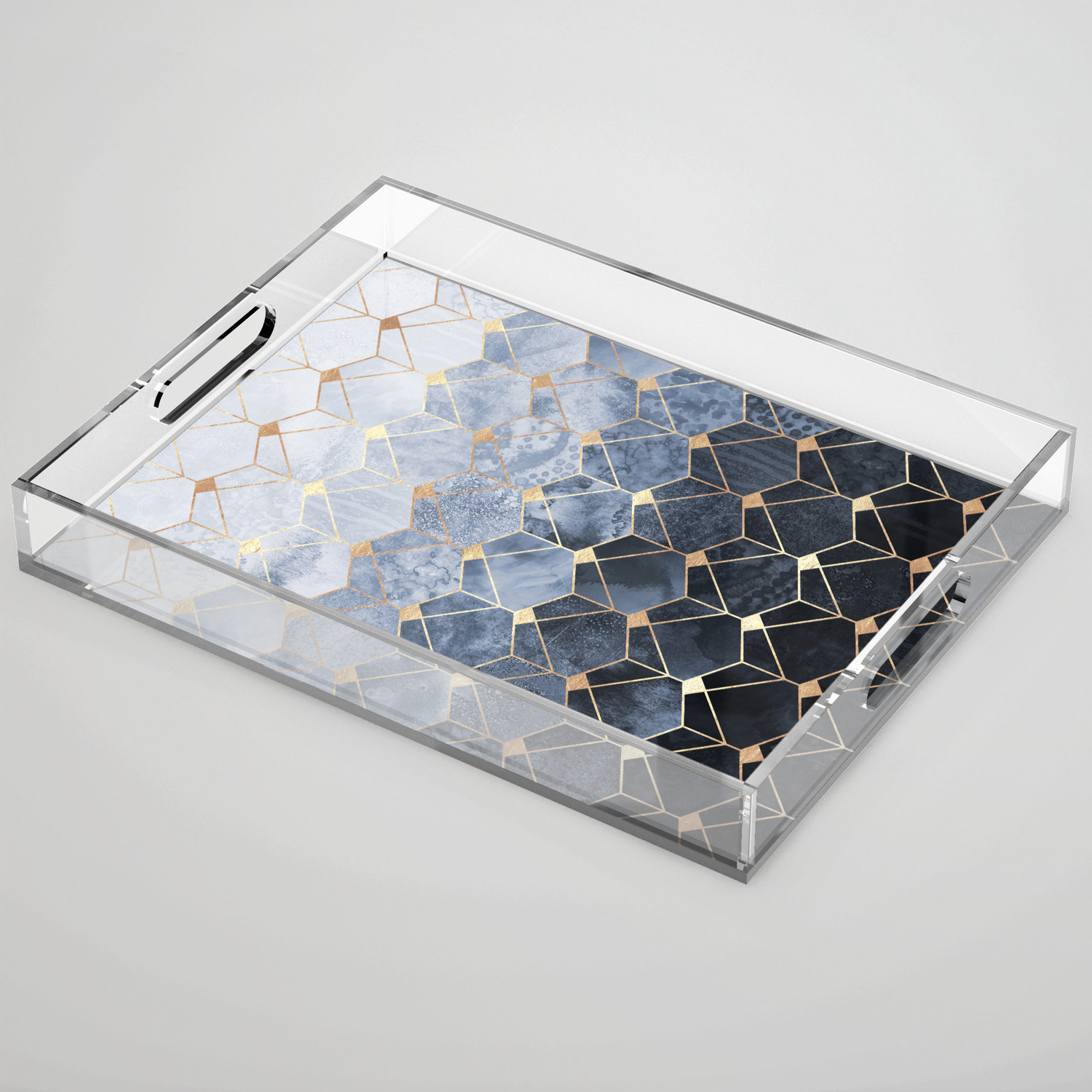 Blue Hexagons And Diamonds Acrylic Trayelisabethfredriksson Regarding Blue Hexagons And Diamonds Credenzas (View 1 of 20)