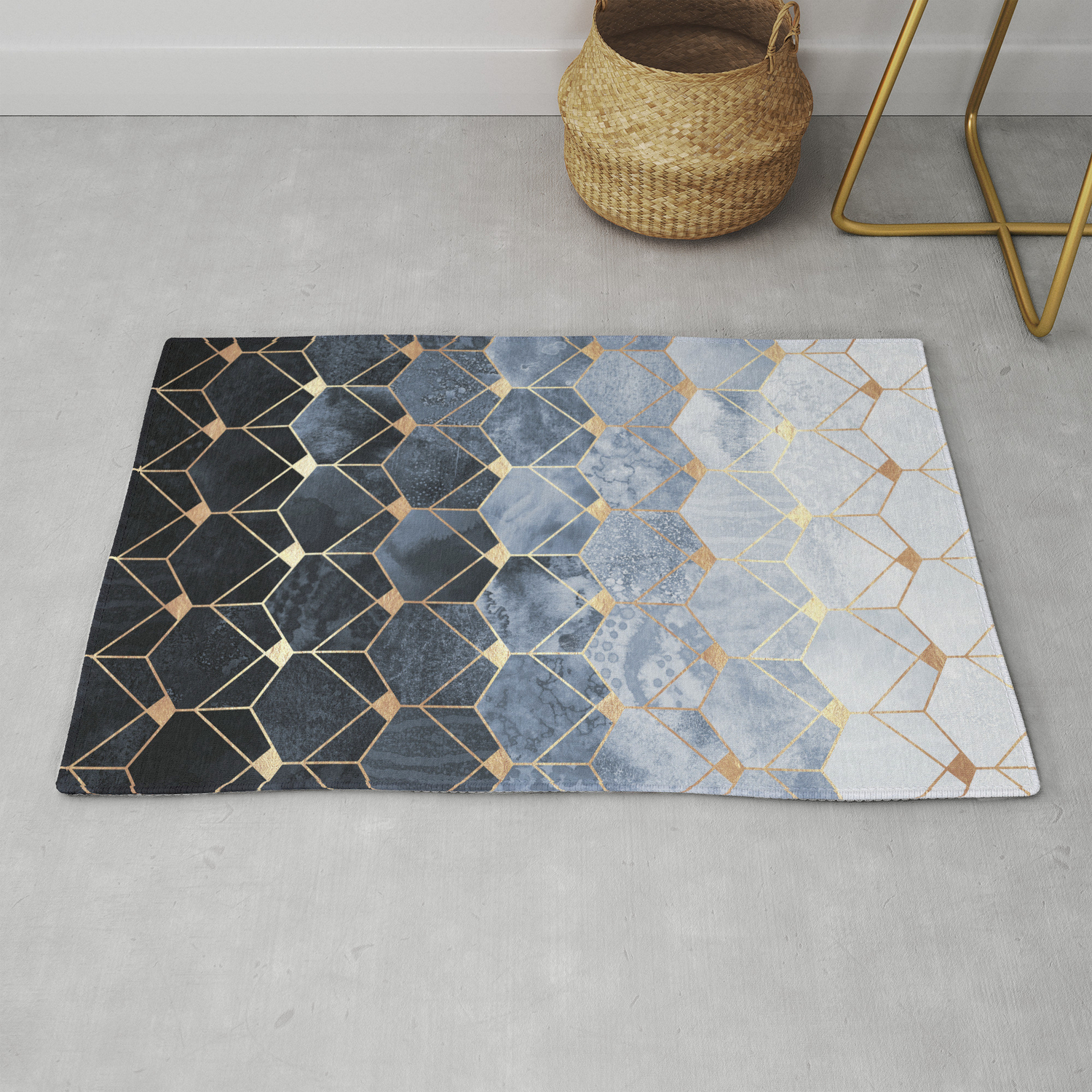 Blue Hexagons And Diamonds Rugelisabethfredriksson With Regard To Blue Hexagons And Diamonds Credenzas (View 6 of 20)