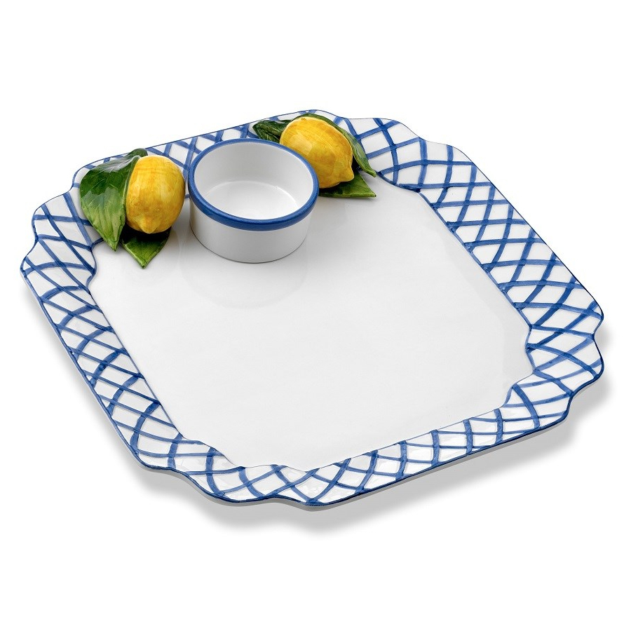 Blue Trellis With Lemons Chip & Dip Intended For Bluetrellis Credenzas (View 4 of 20)