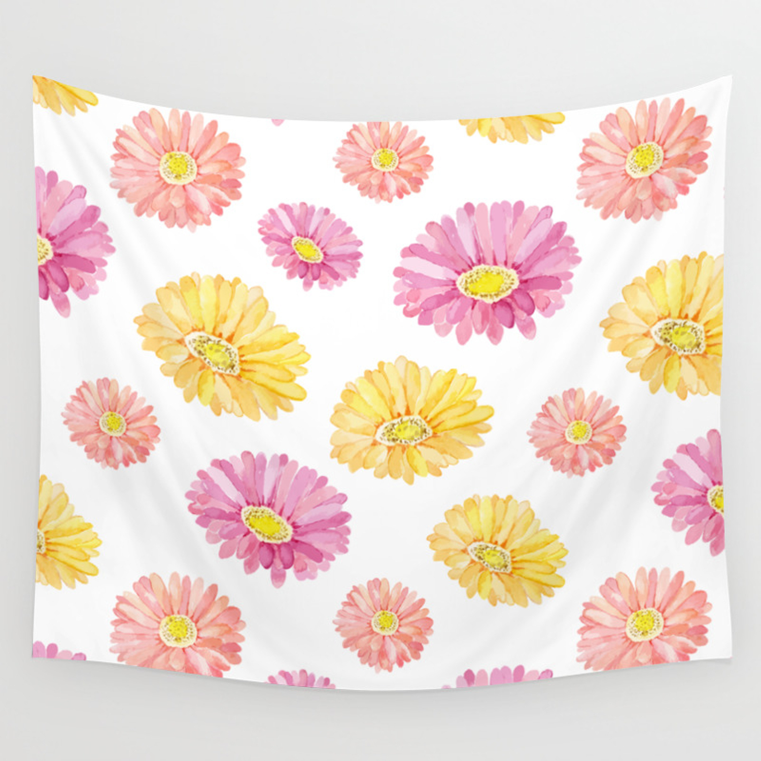 Blush Pink Yellow Watercolor Hand Painted Daisies Floral Wall Tapestry Throughout Floral Blush Yellow Credenzas (View 5 of 20)