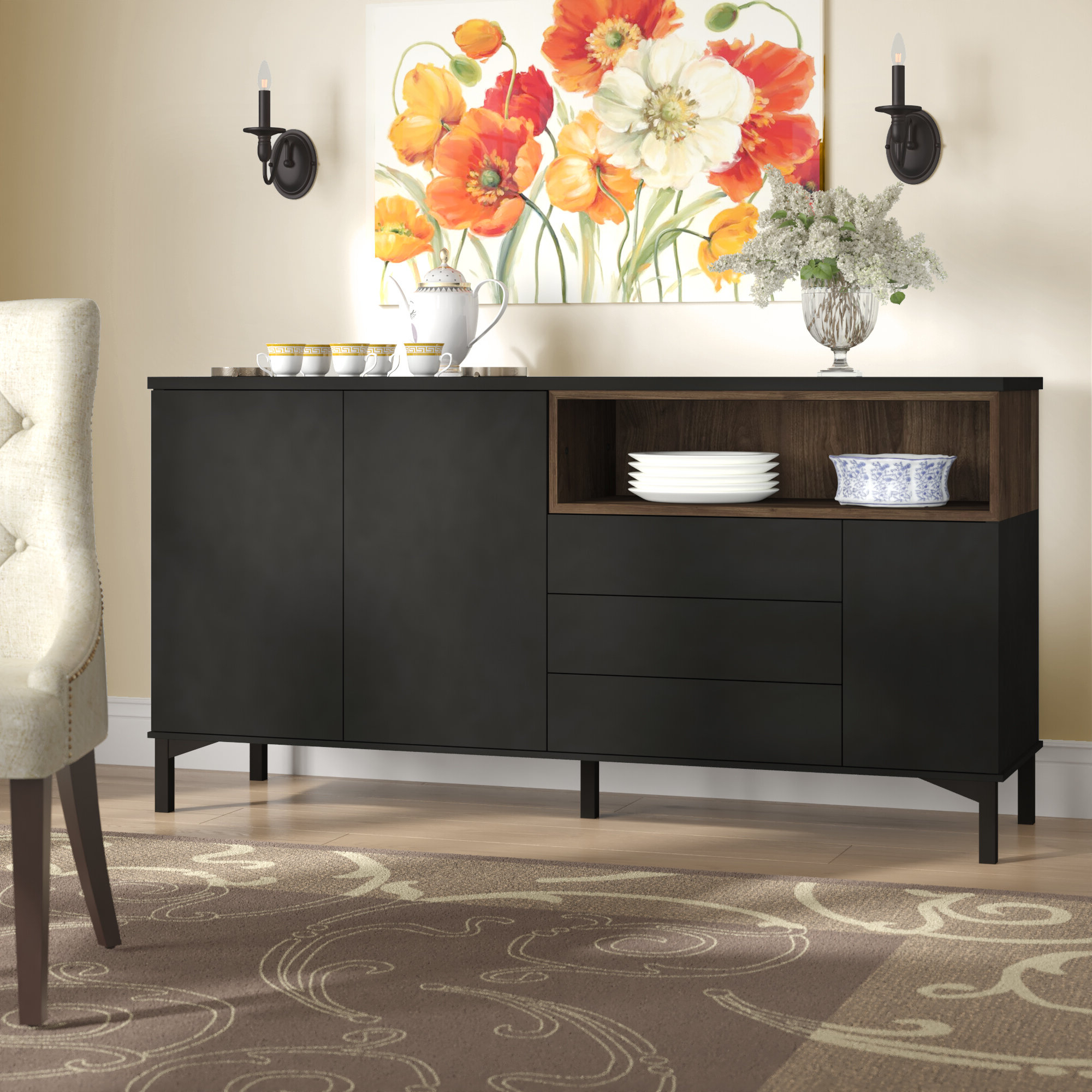 Boggess Sideboard With Solid And Composite Wood Buffets In Cappuccino Finish (View 10 of 20)