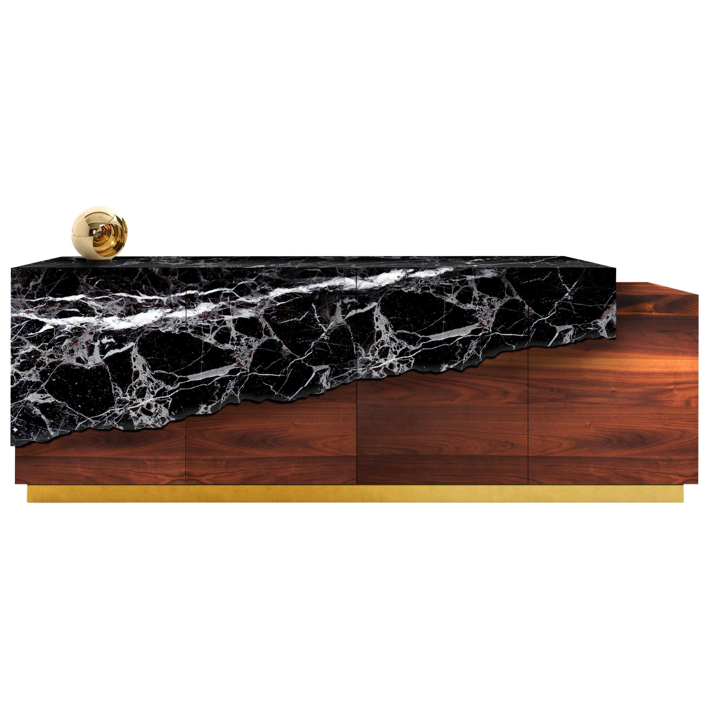 Boji Sideboard, Contemporary Credenza In Aged Brass, Marble & Walnut W Led  Light Throughout Ocean Marble Credenzas (View 2 of 20)