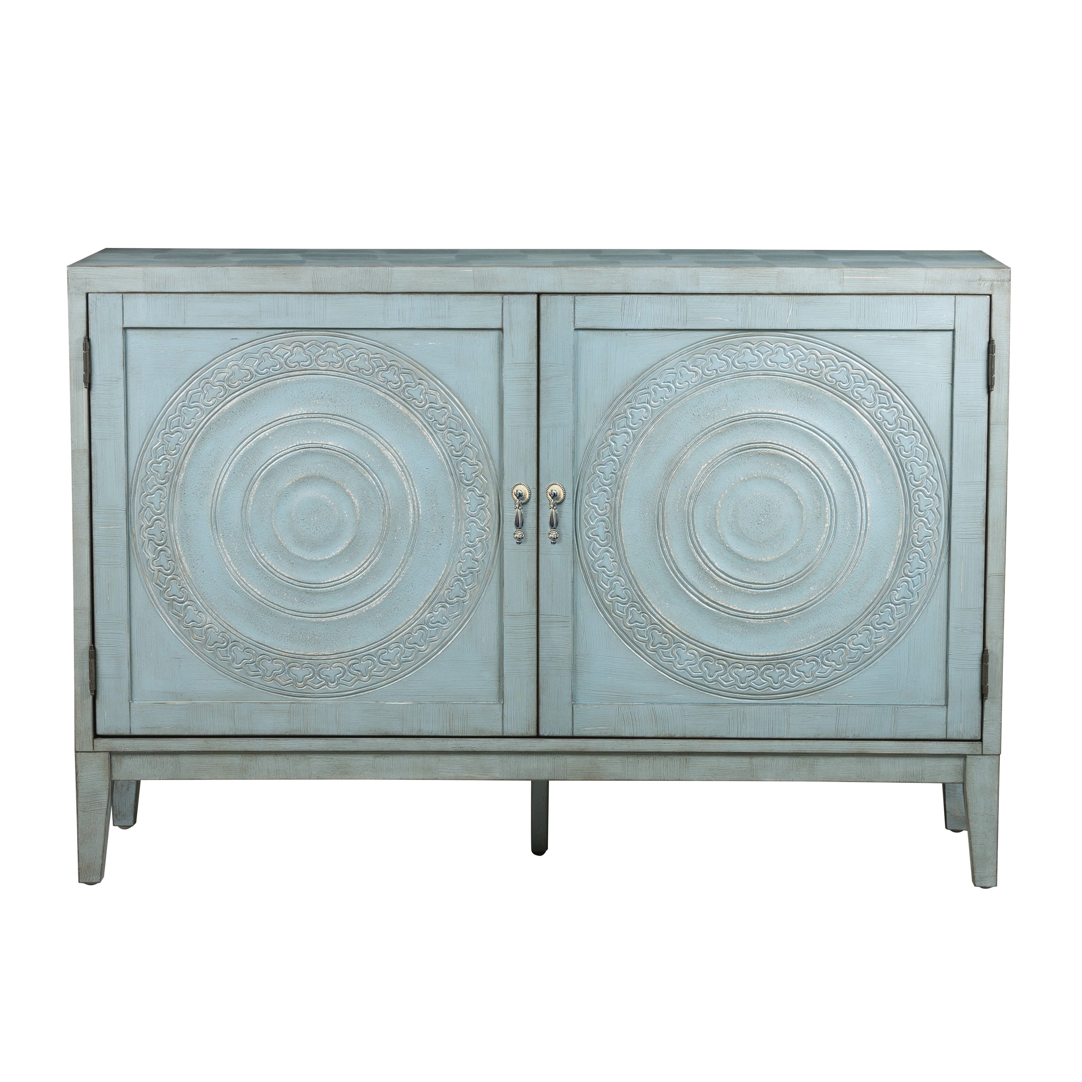 Briane Antique Blue Embossed Credenza Console Regarding Blue Stained Glass Credenzas (View 2 of 20)