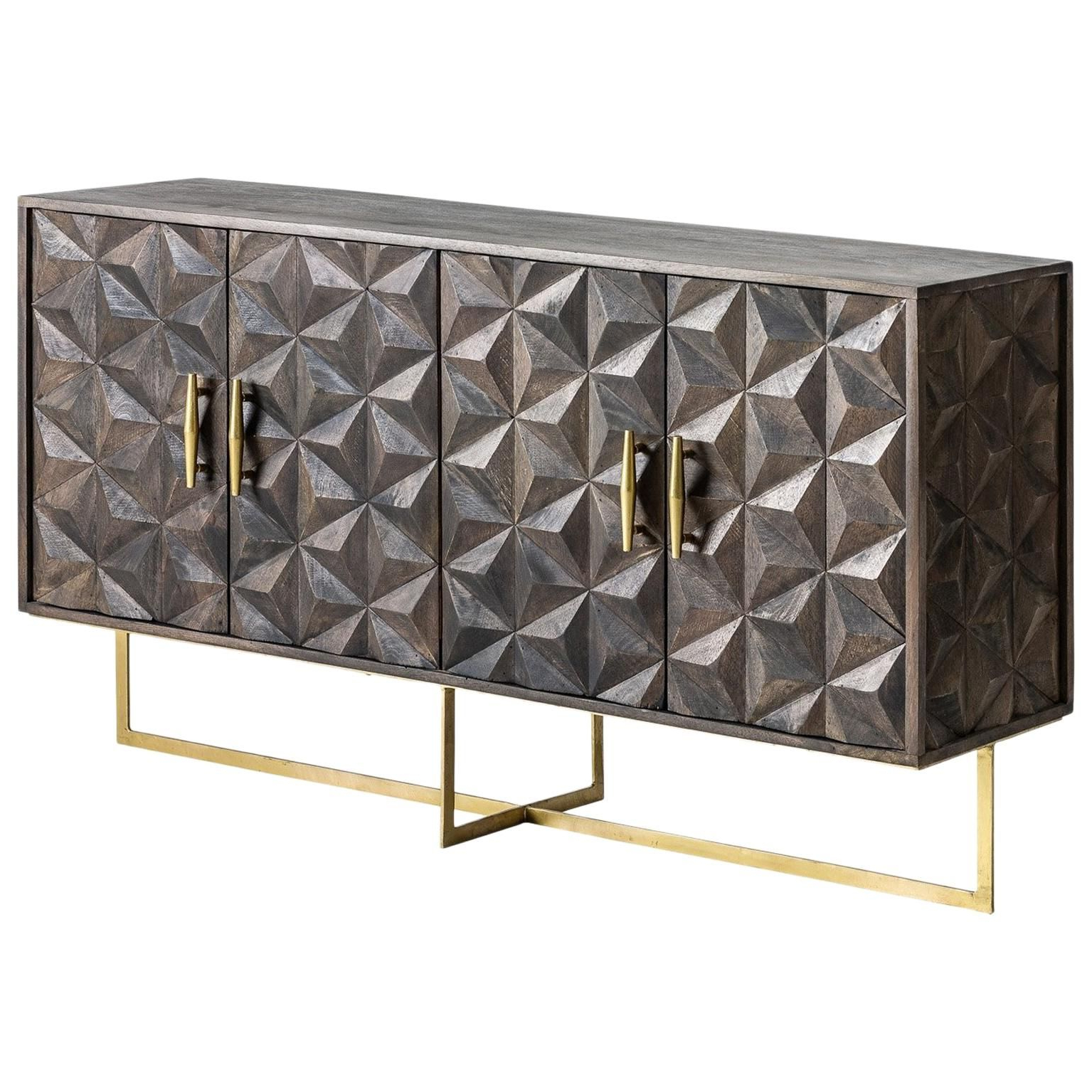Brutalist Design Wooden And Gilded Metal Sideboard In 2019 Pertaining To Strokes And Waves Credenzas (View 16 of 20)