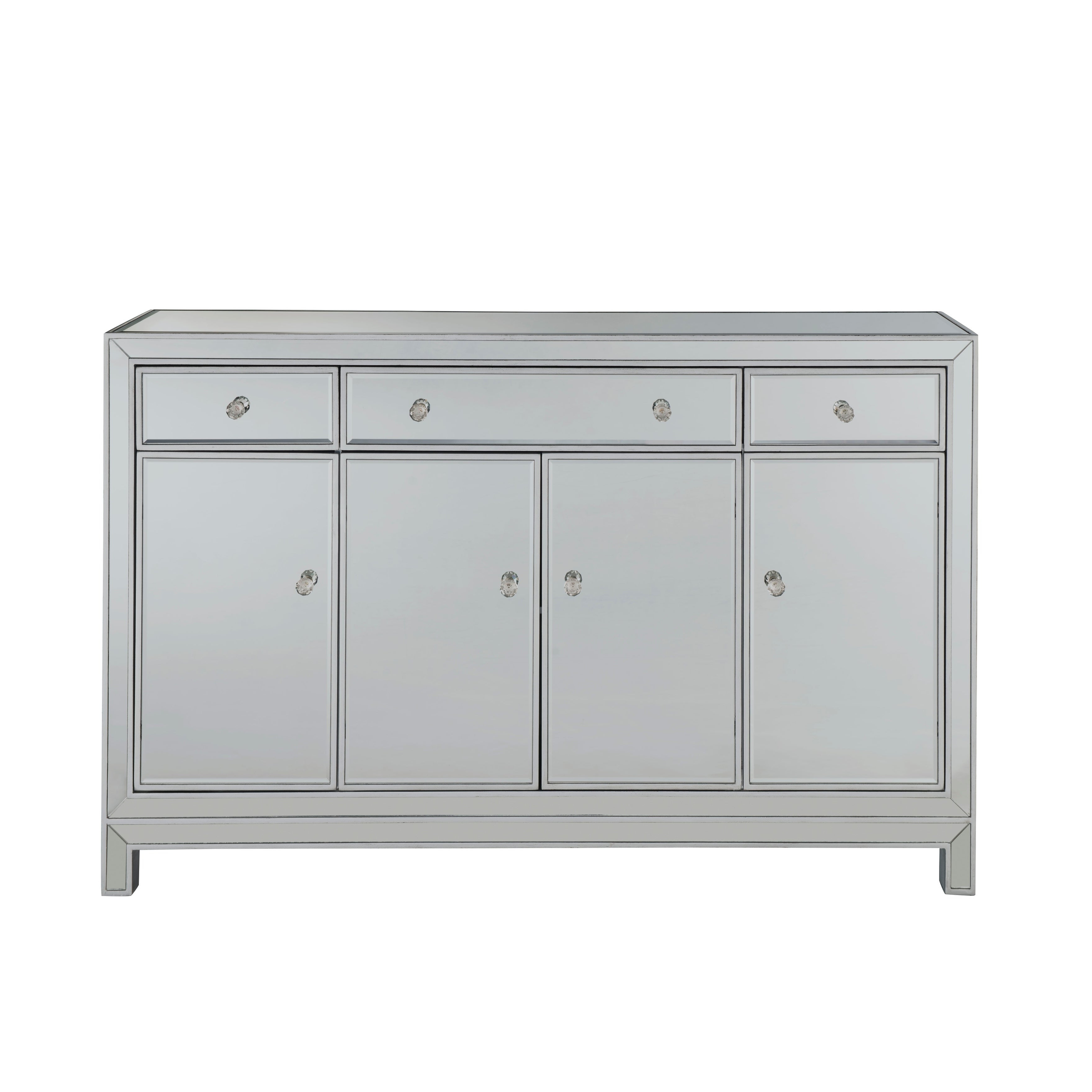 """Buffet Cabinet 3 Drawers 4 Doors 56""""w X 13""""d X 36""""h In Antique Silver Paint Inside 3 Drawer Storage Buffets (View 6 of 20)"""
